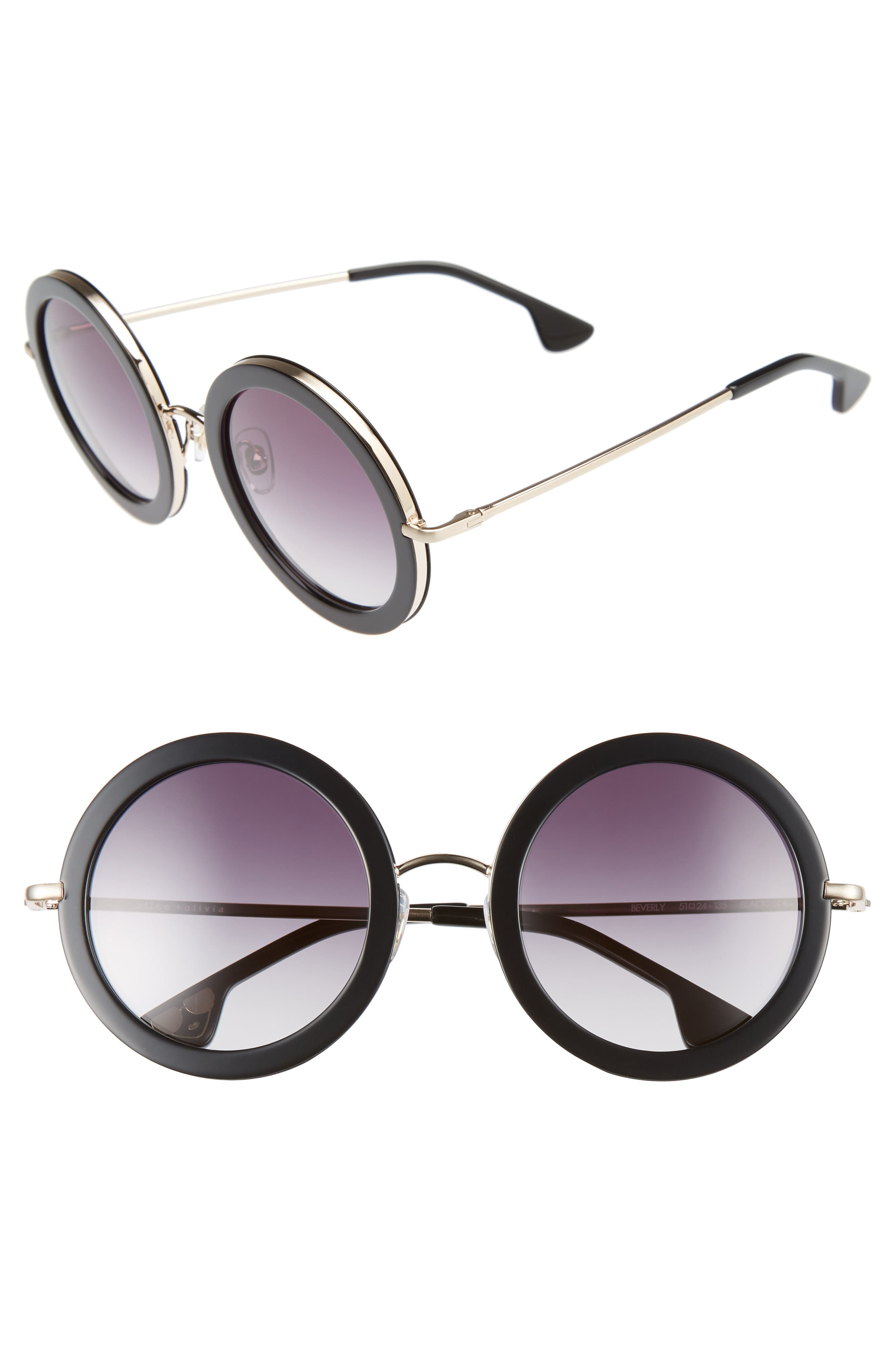 Beverly 51mm Special Fit Round Sunglasses,                         Main,                         color, 001