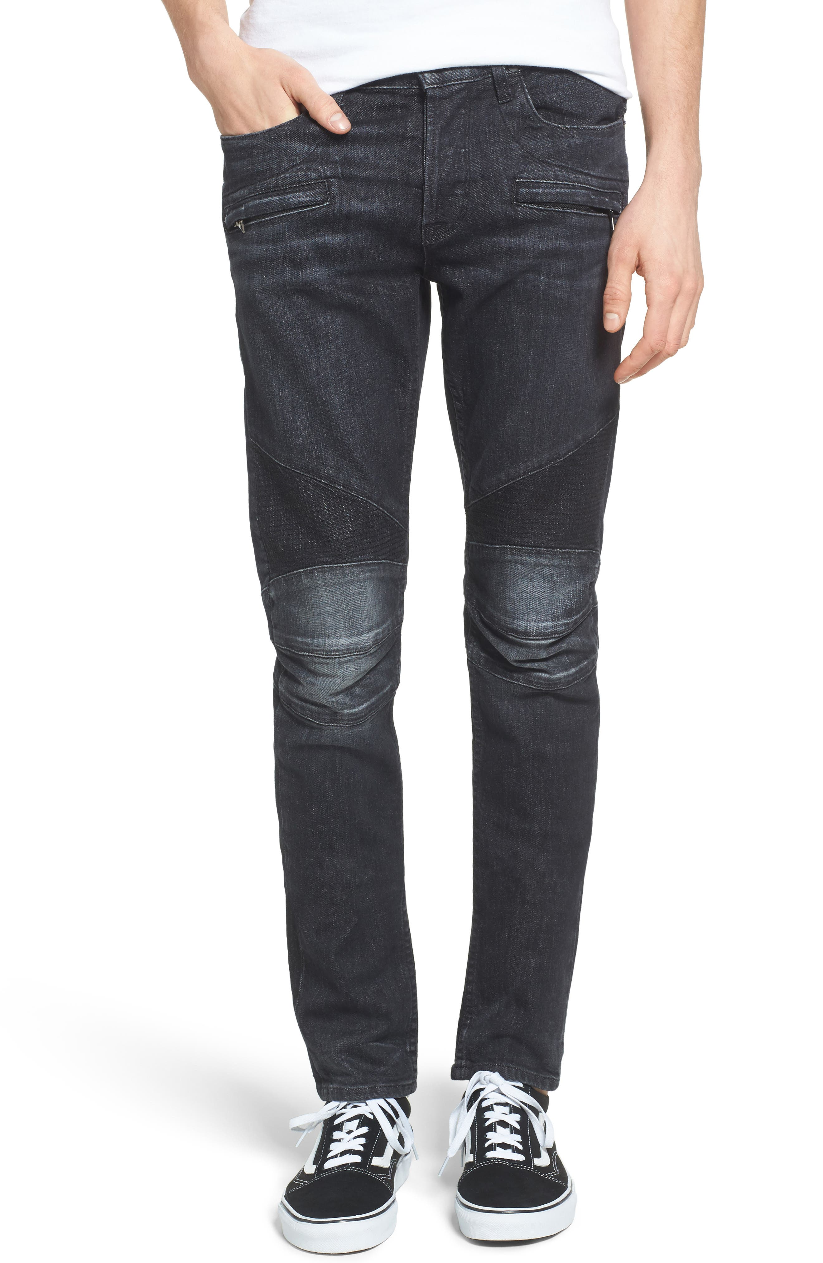 Blinder Skinny Fit Moto Jeans,                             Main thumbnail 1, color,                             001