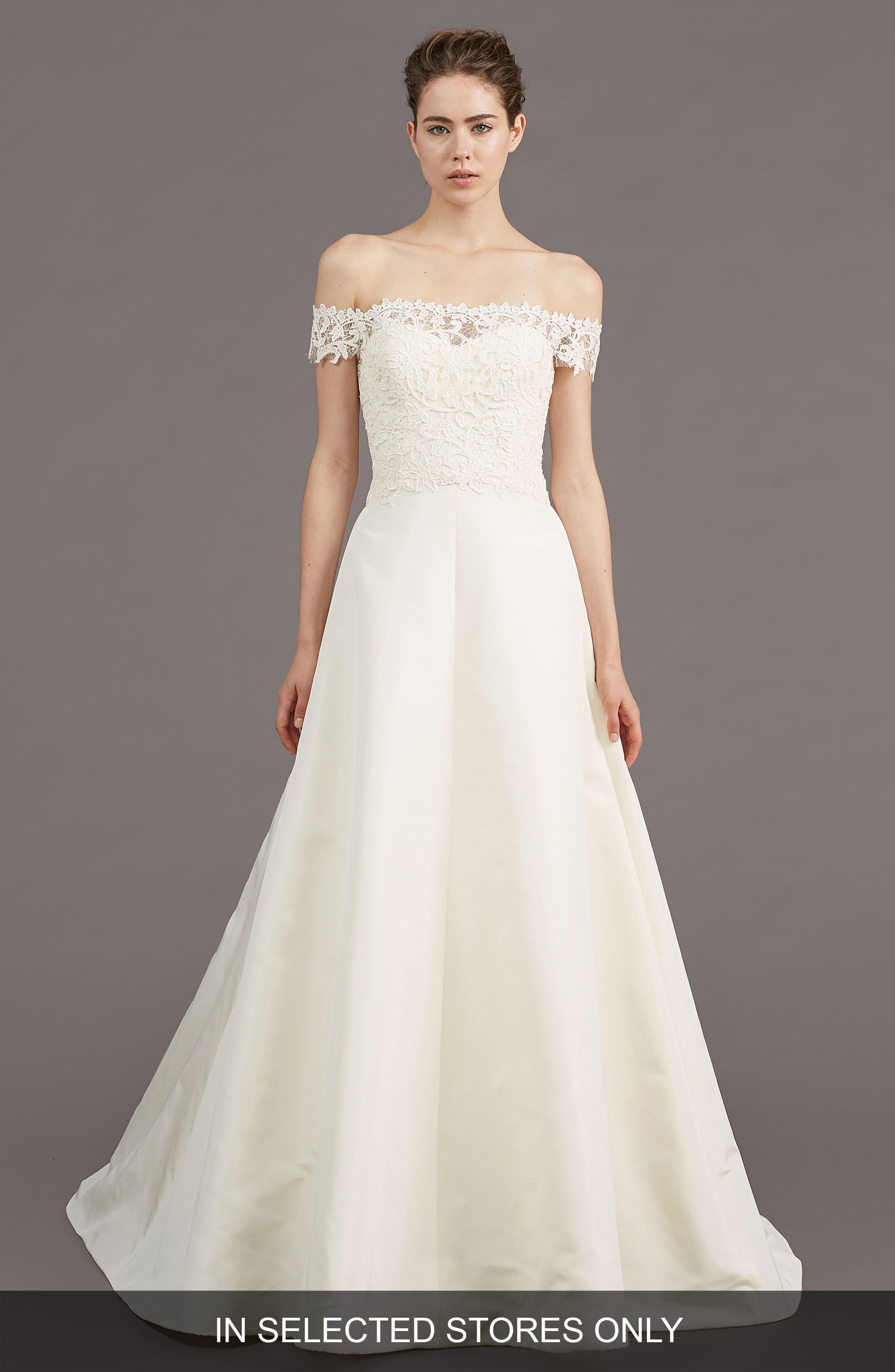 Tilden Lace & Silk Blend Gown,                         Main,                         color, IVORY
