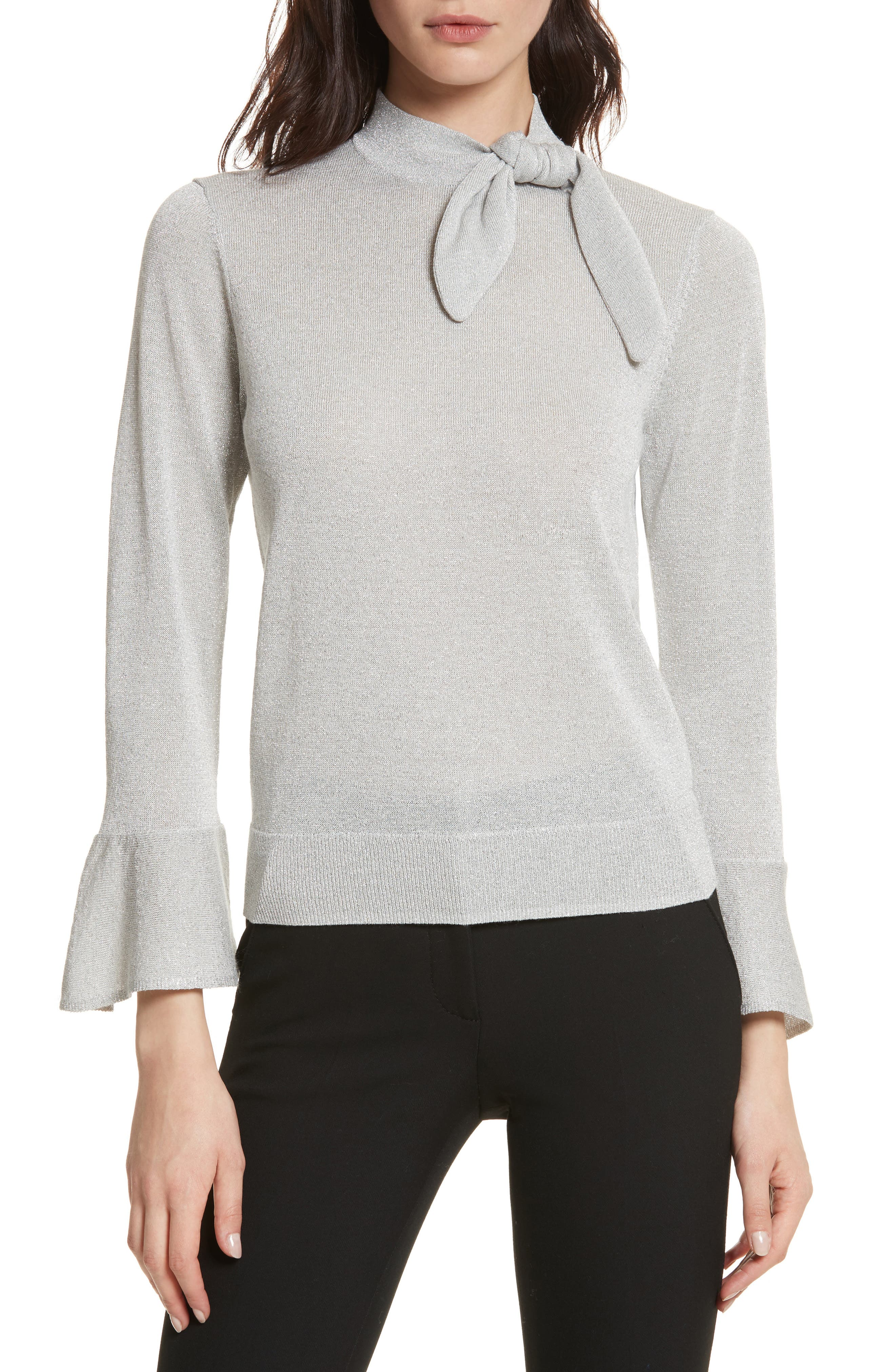 metallic knot sweater,                         Main,                         color, 044
