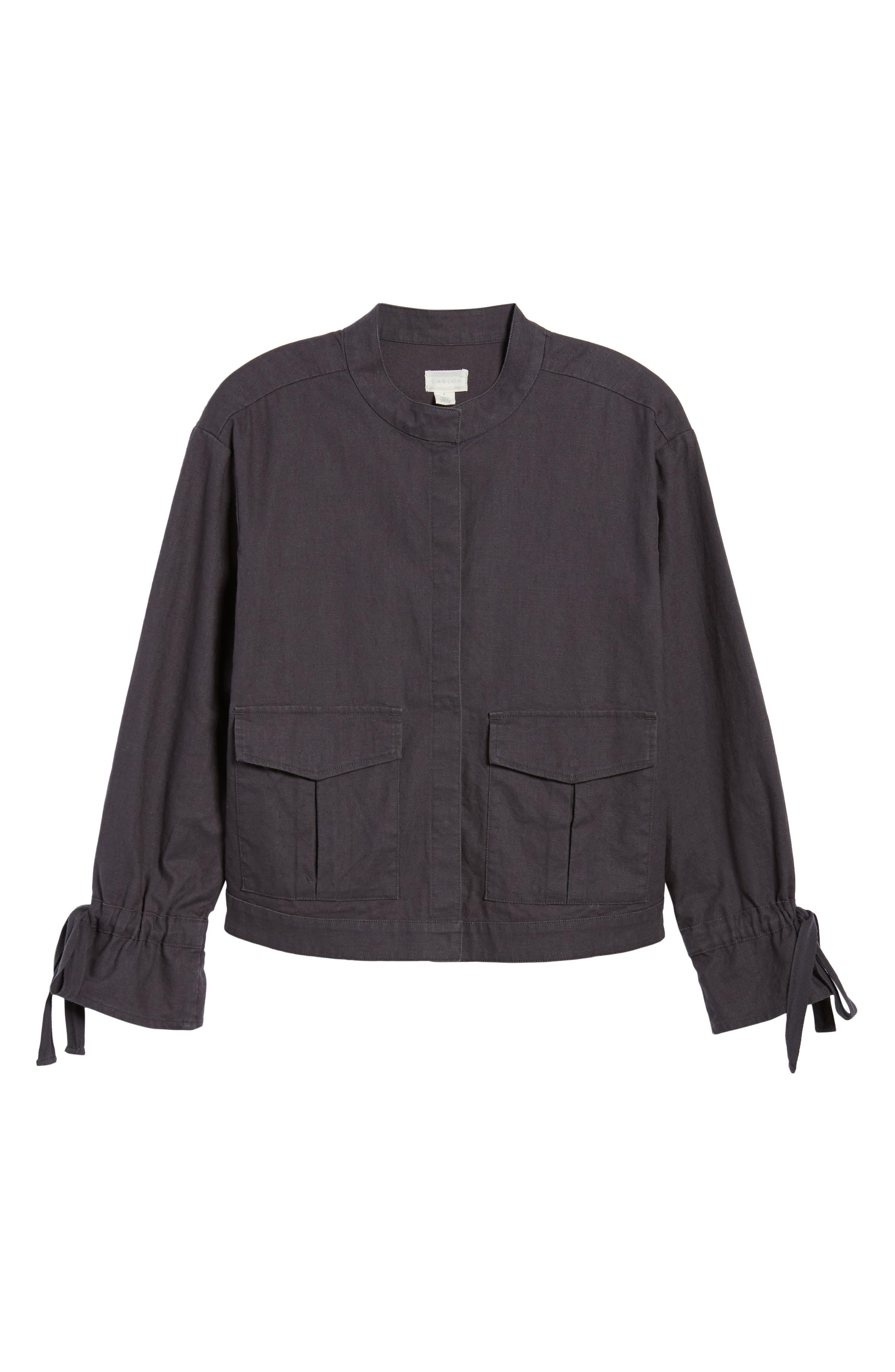 Tie Sleeve Linen & Cotton Jacket,                             Alternate thumbnail 5, color,                             030