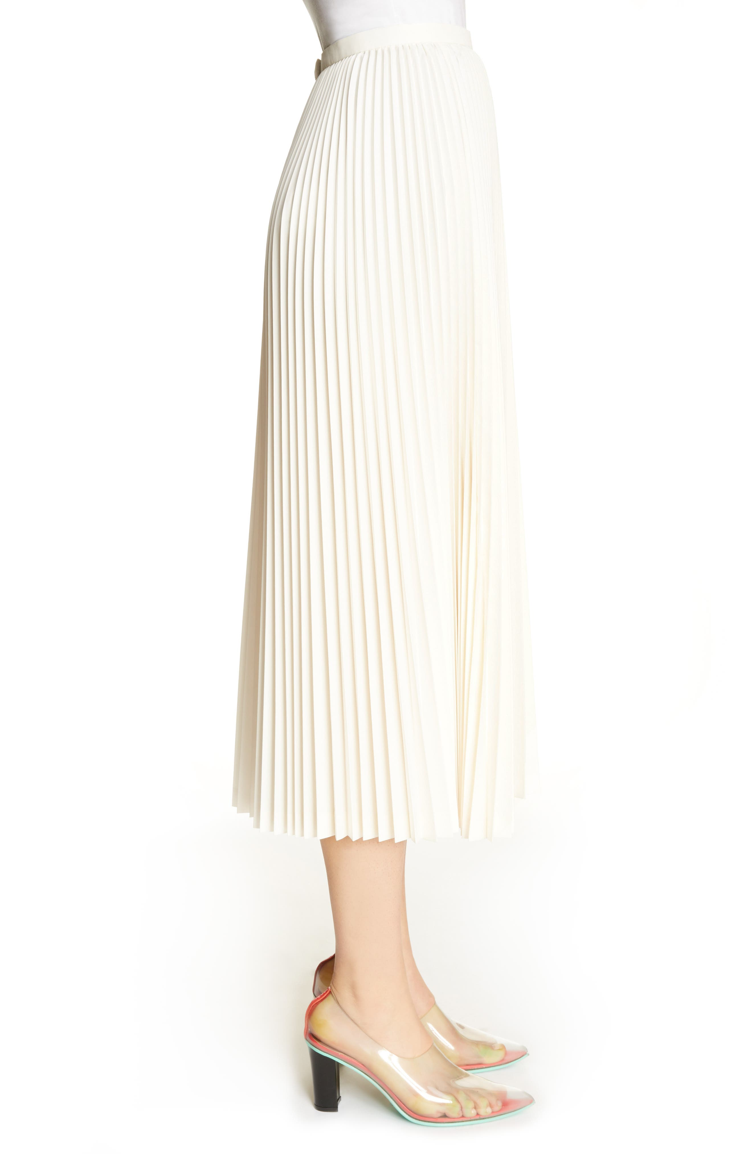 Pleated Keyhole Skirt,                             Alternate thumbnail 3, color,                             100
