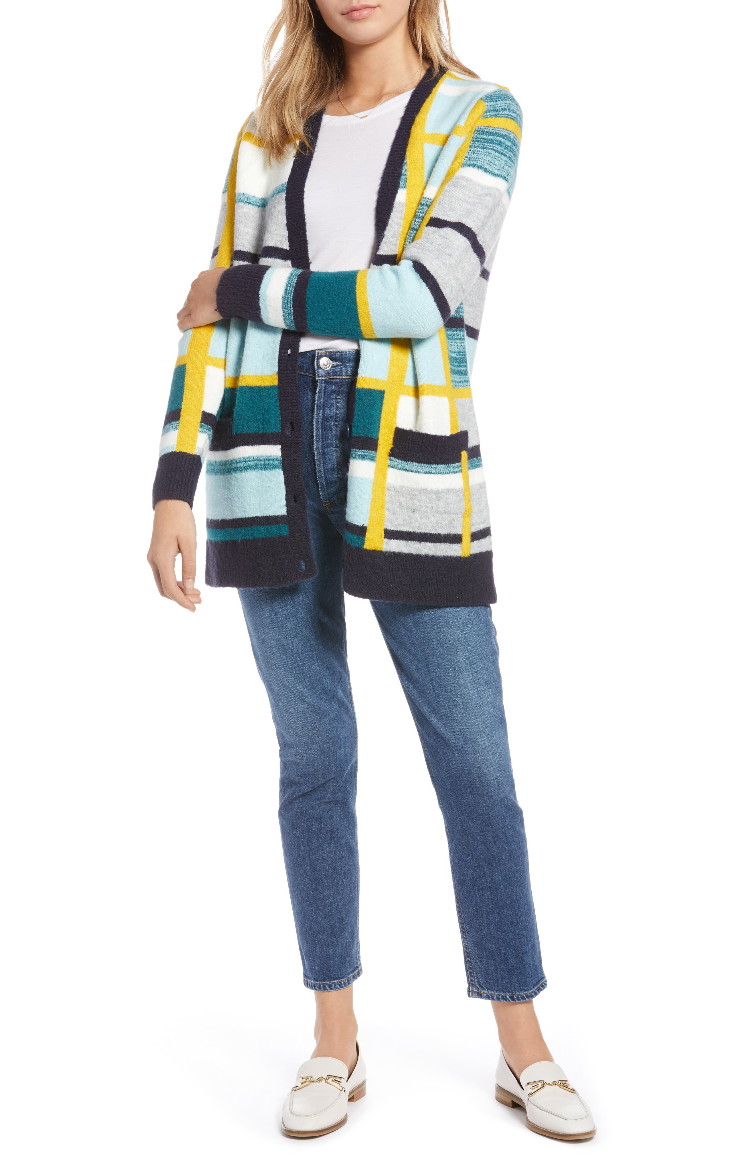 Abstract Plaid Button Front Cardigan Sweater,                             Main thumbnail 1, color,                             TEAL ABSTRACT PLAID