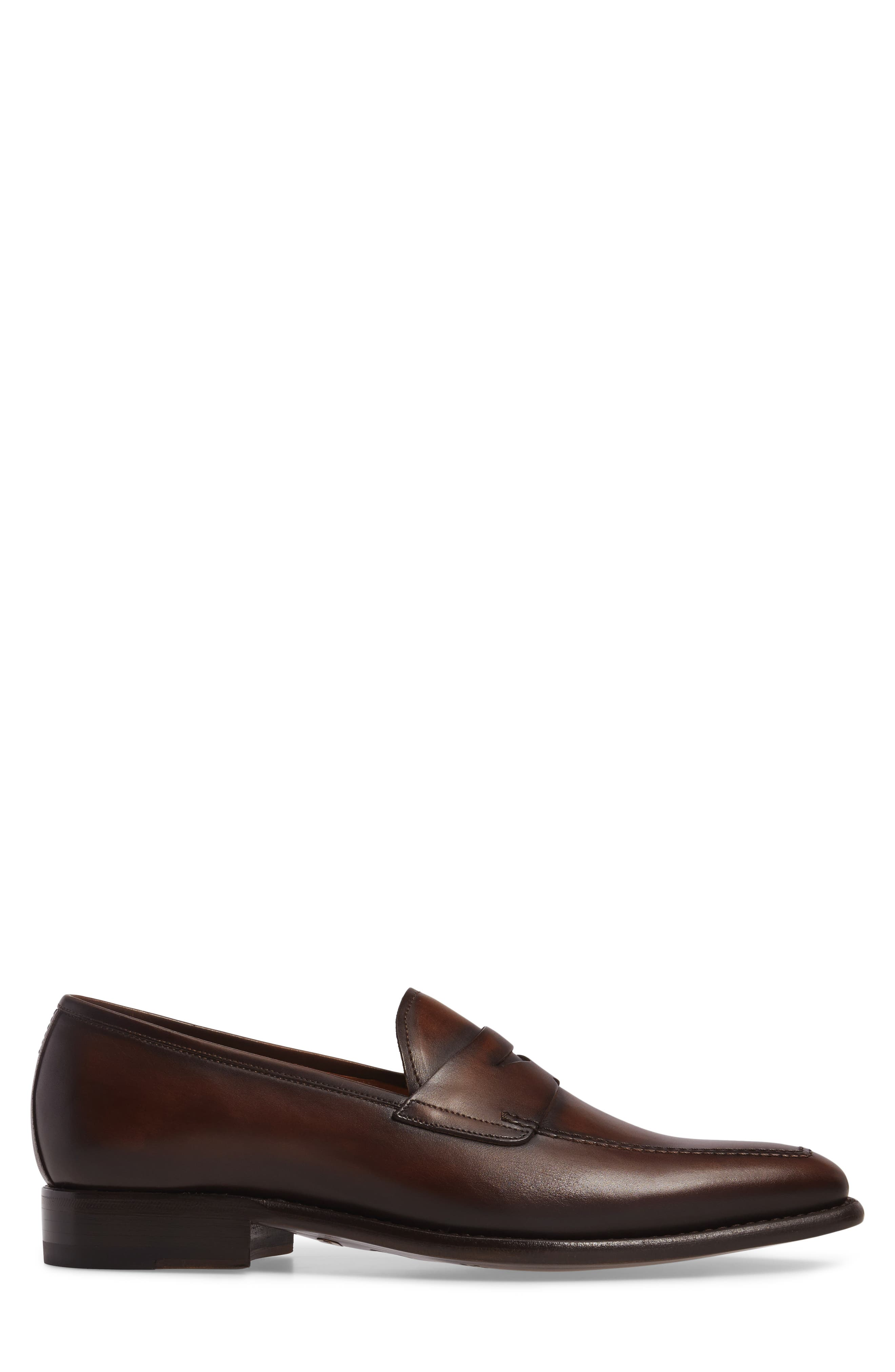 Claude Penny Loafer,                             Alternate thumbnail 3, color,                             BROWN LEATHER