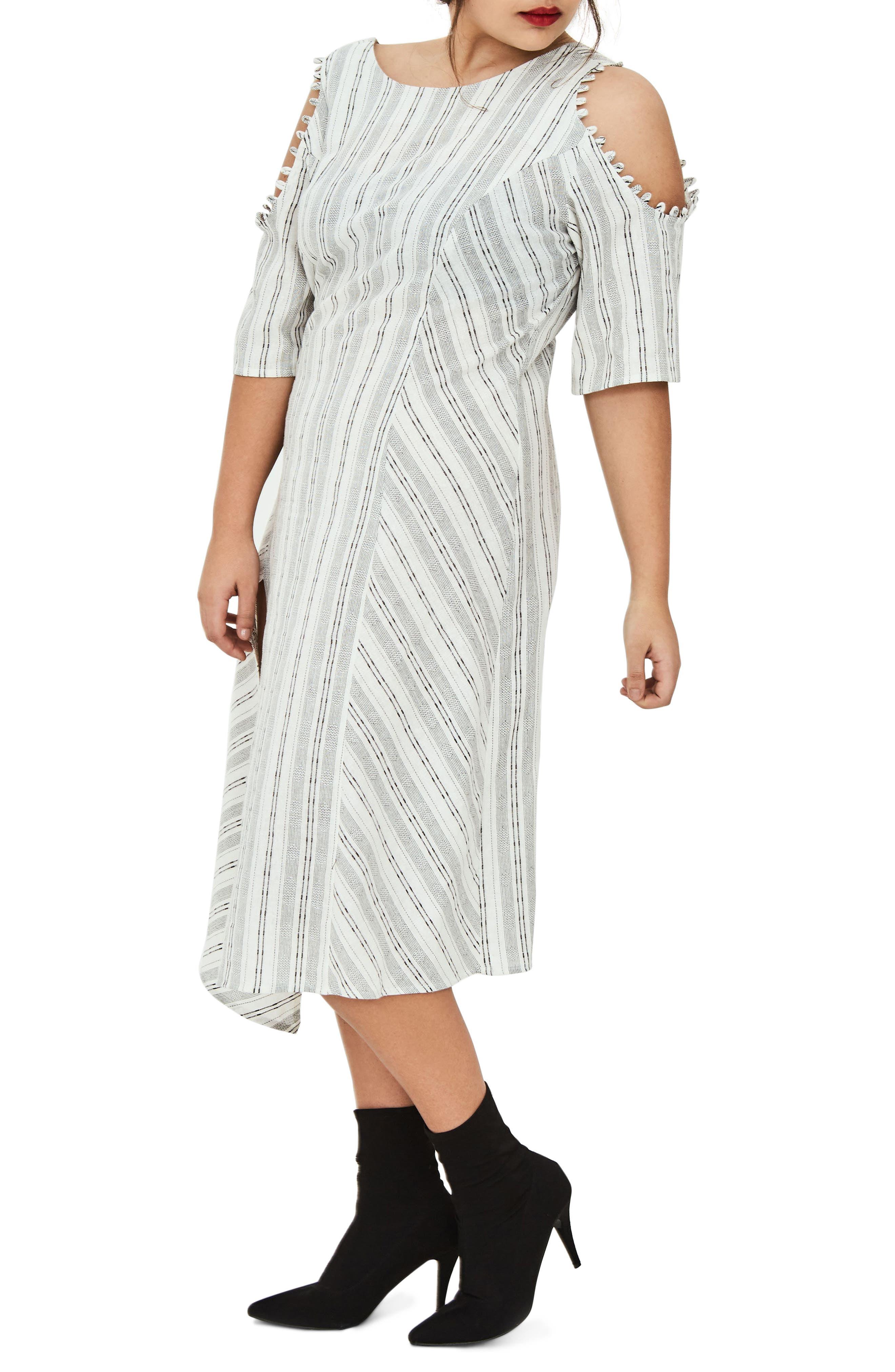 The Masago Stripe Cold Shoulder Dress,                             Alternate thumbnail 3, color,                             100