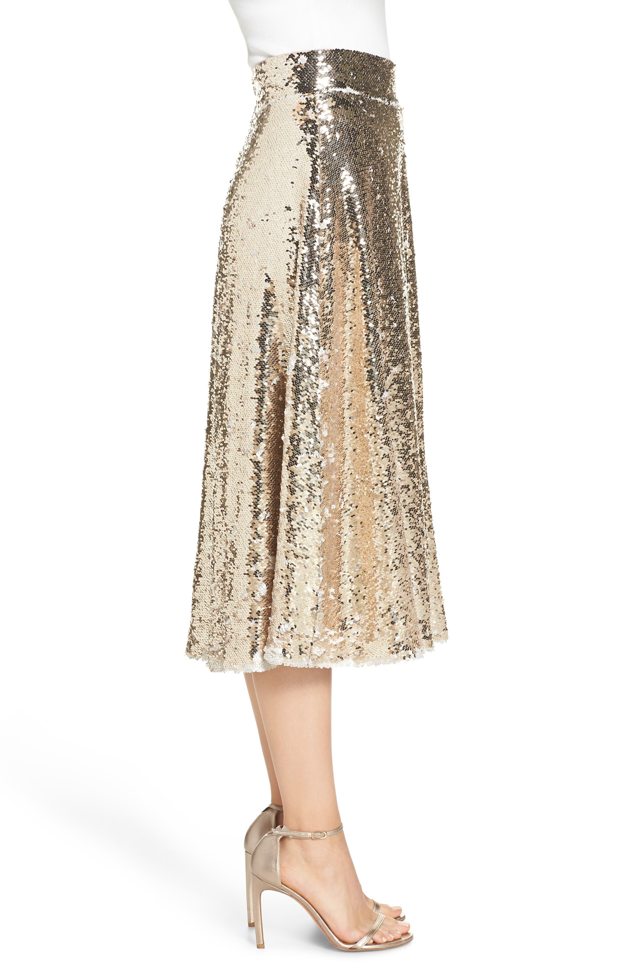 Sequin Embellished A-Line Skirt,                             Alternate thumbnail 3, color,                             GOLD