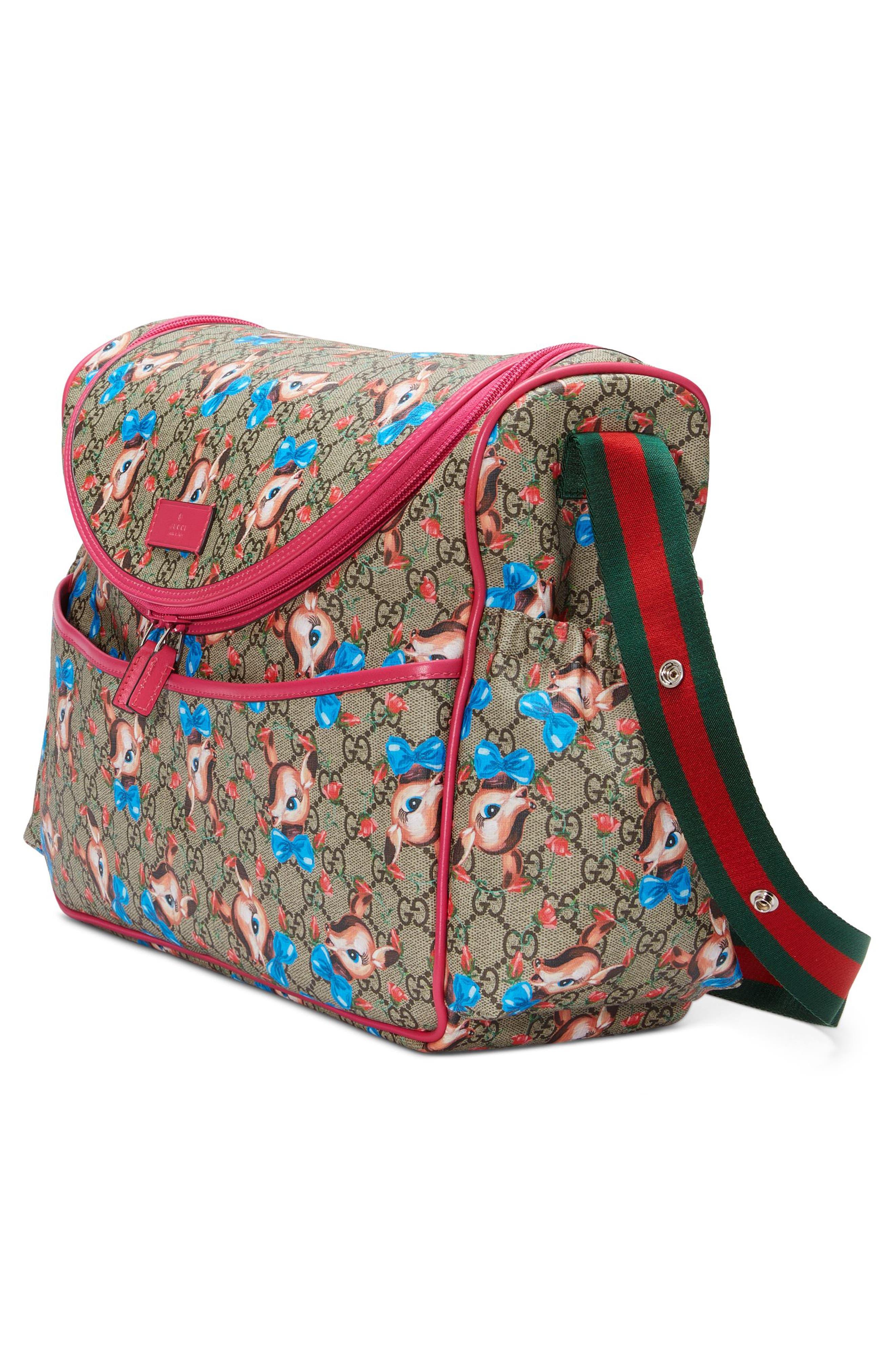 Deer & Rose Bud GG Supreme Canvas Diaper Bag,                             Alternate thumbnail 4, color,                             250