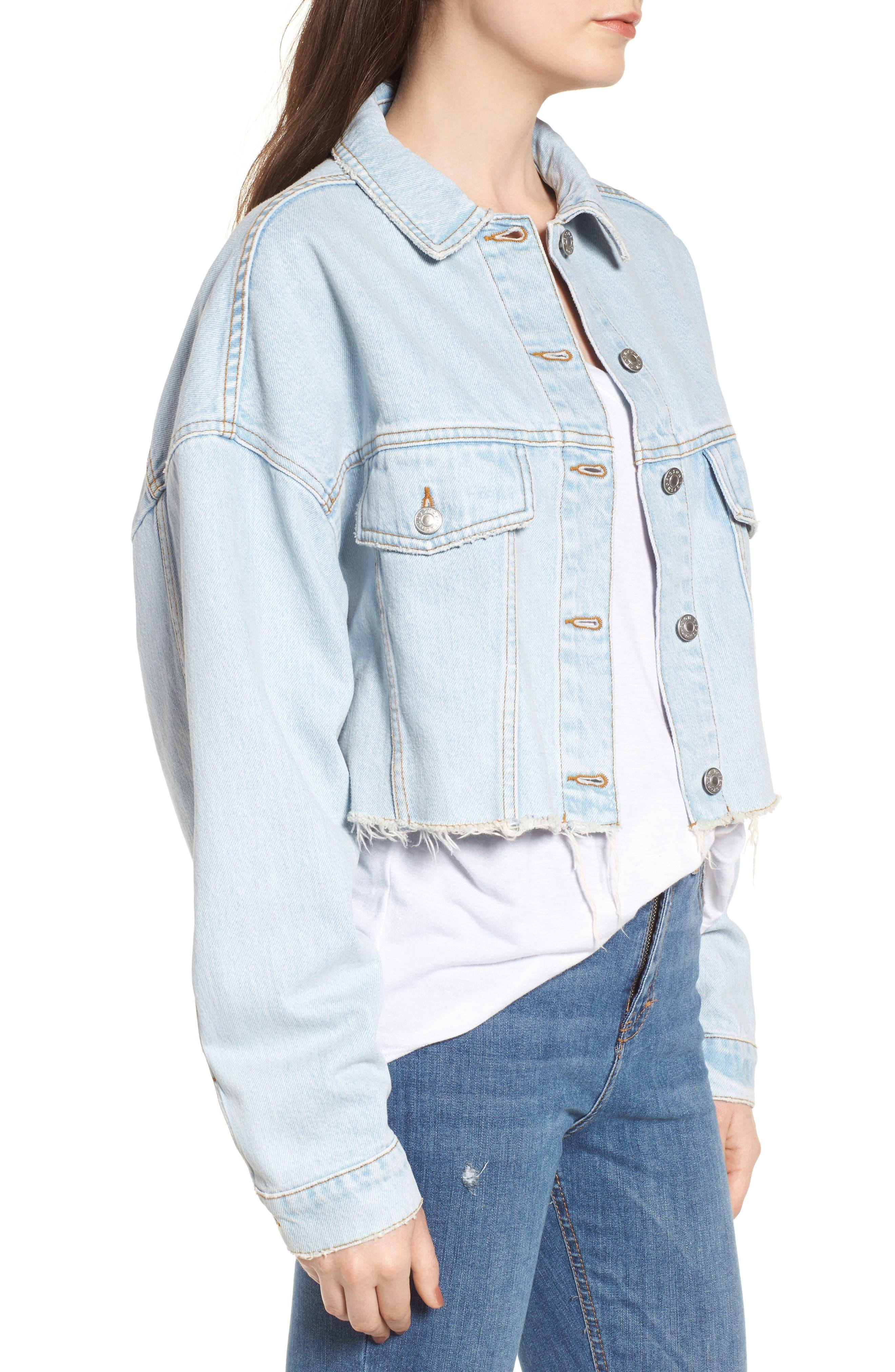 Bleached Cutoff Denim Jacket,                             Alternate thumbnail 3, color,                             420
