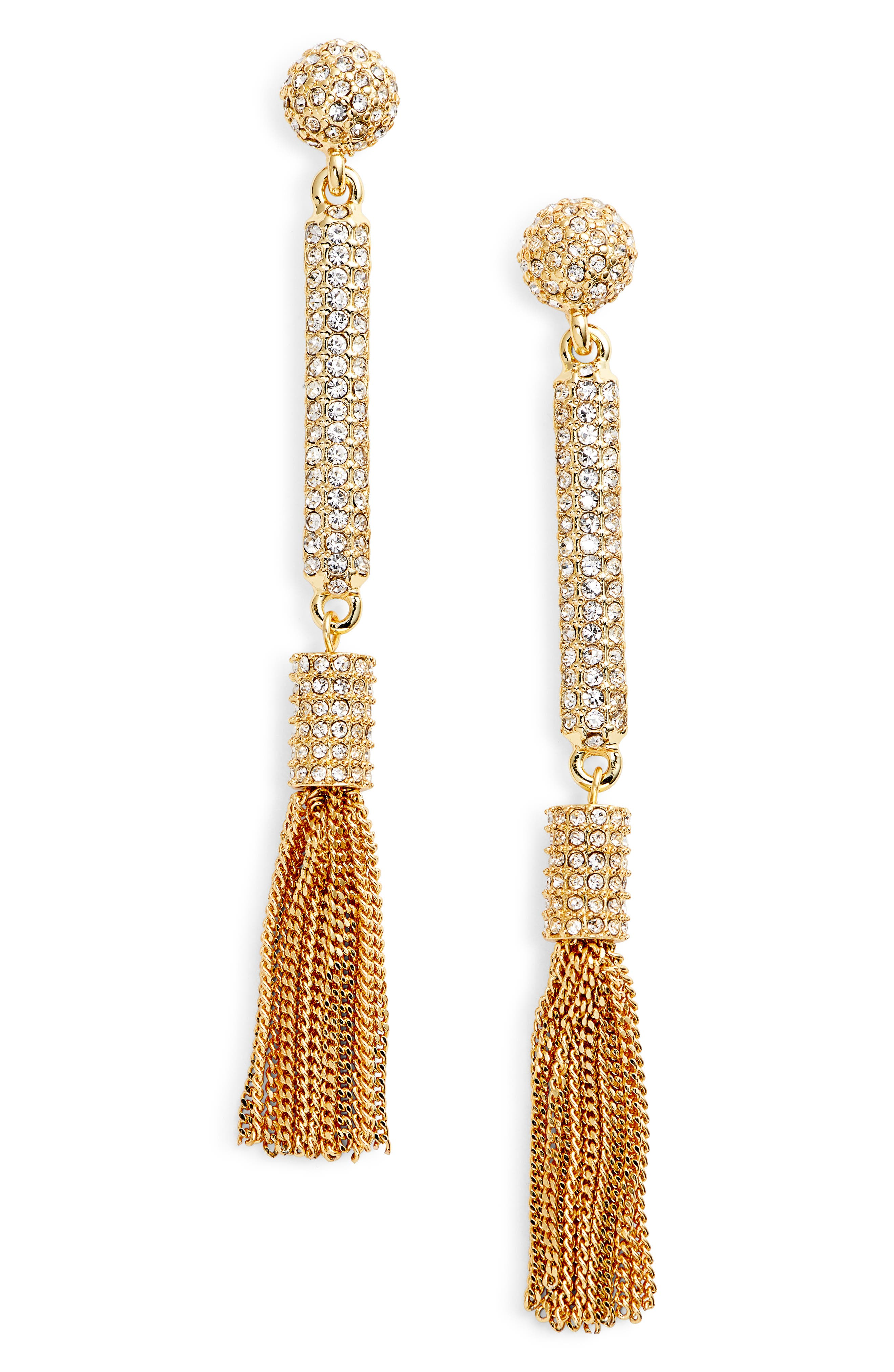 Pavé Tassel Earrings,                             Main thumbnail 2, color,