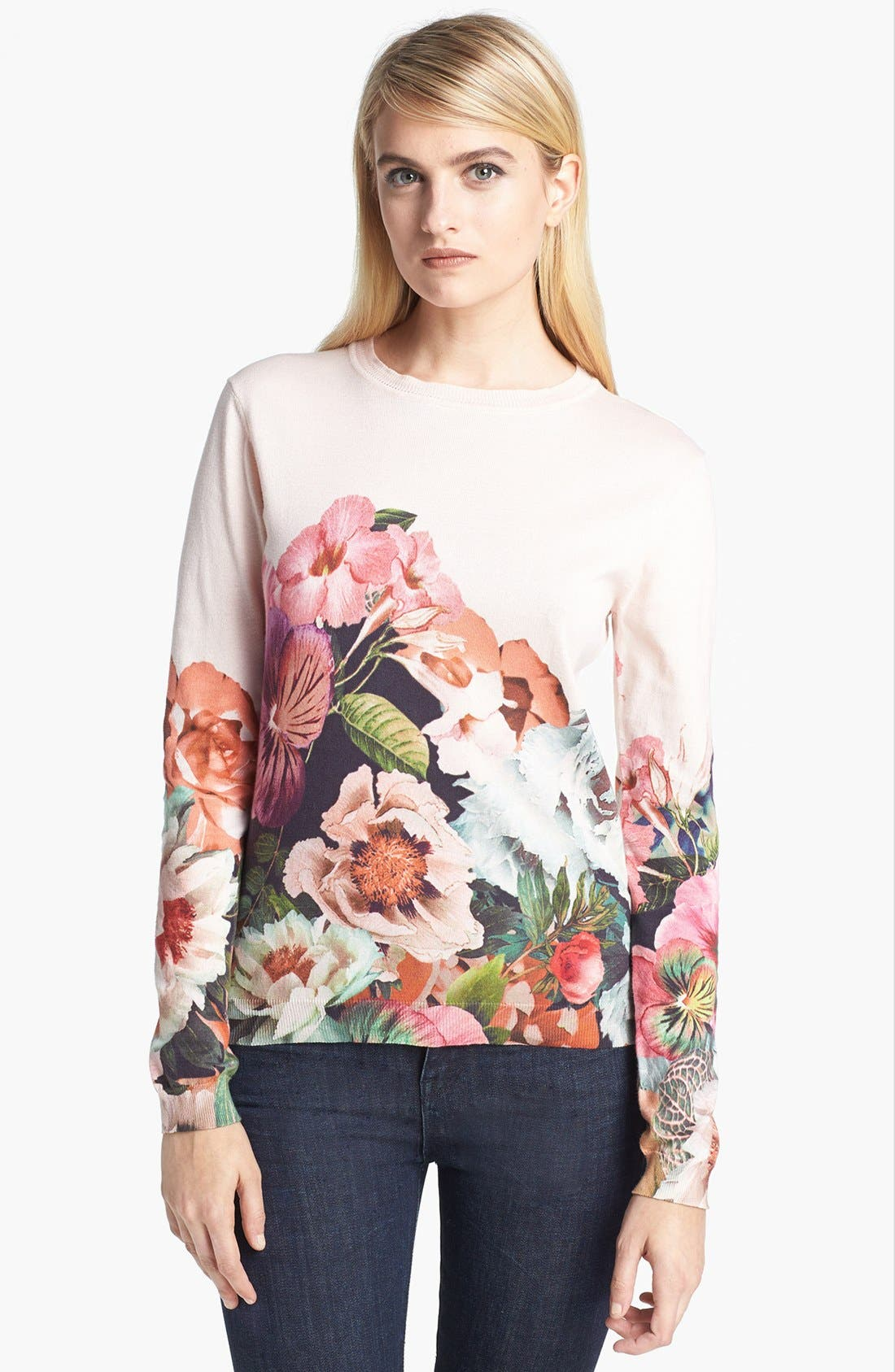 'Tangled Floral' Print Cotton Sweater,                             Main thumbnail 1, color,                             250