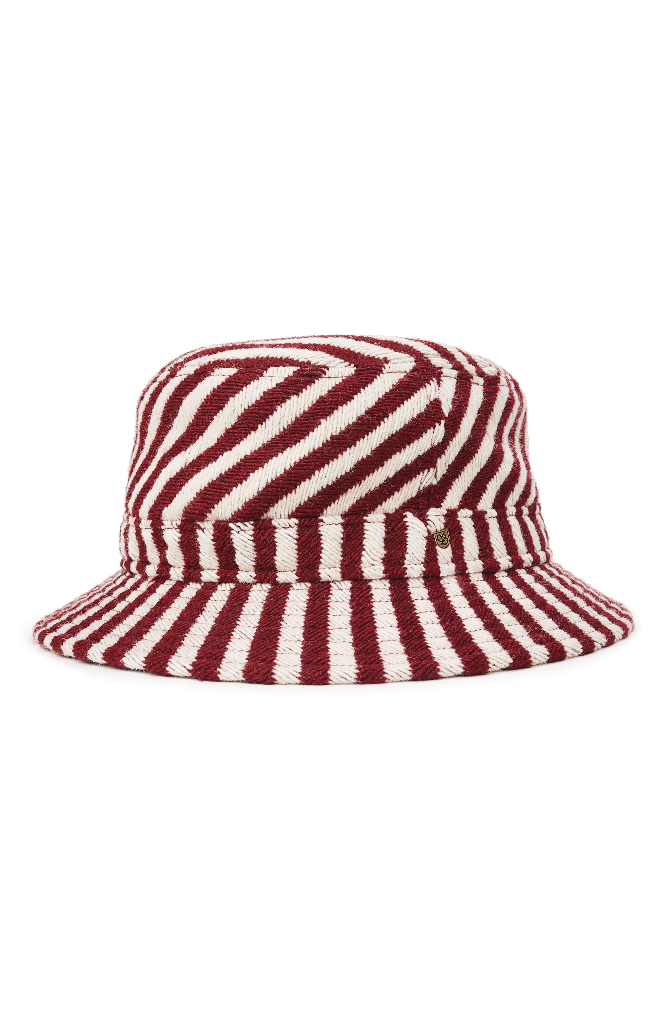 Hardy Bucket Hat - Red in Burgundy/ Cream