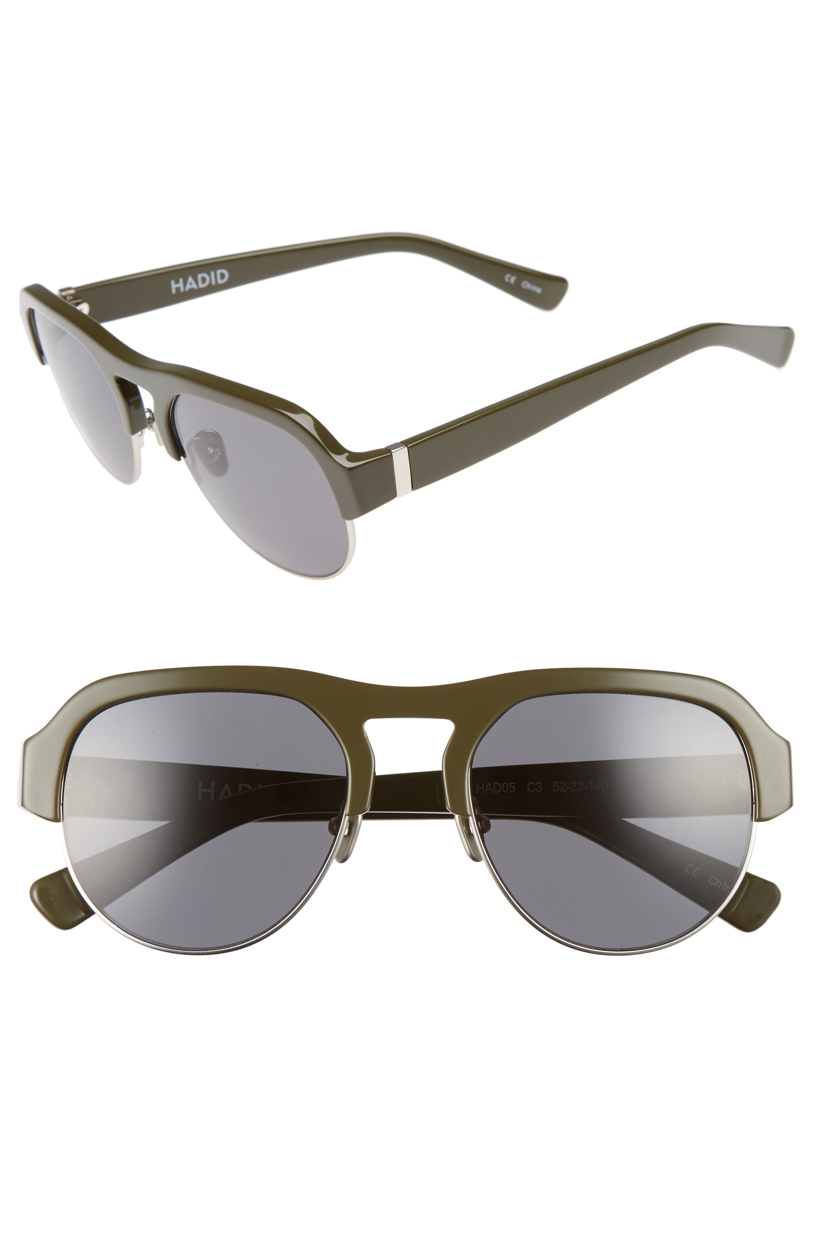 Nomad 52mm Sunglasses,                         Main,                         color, OLIVE/ SILVER