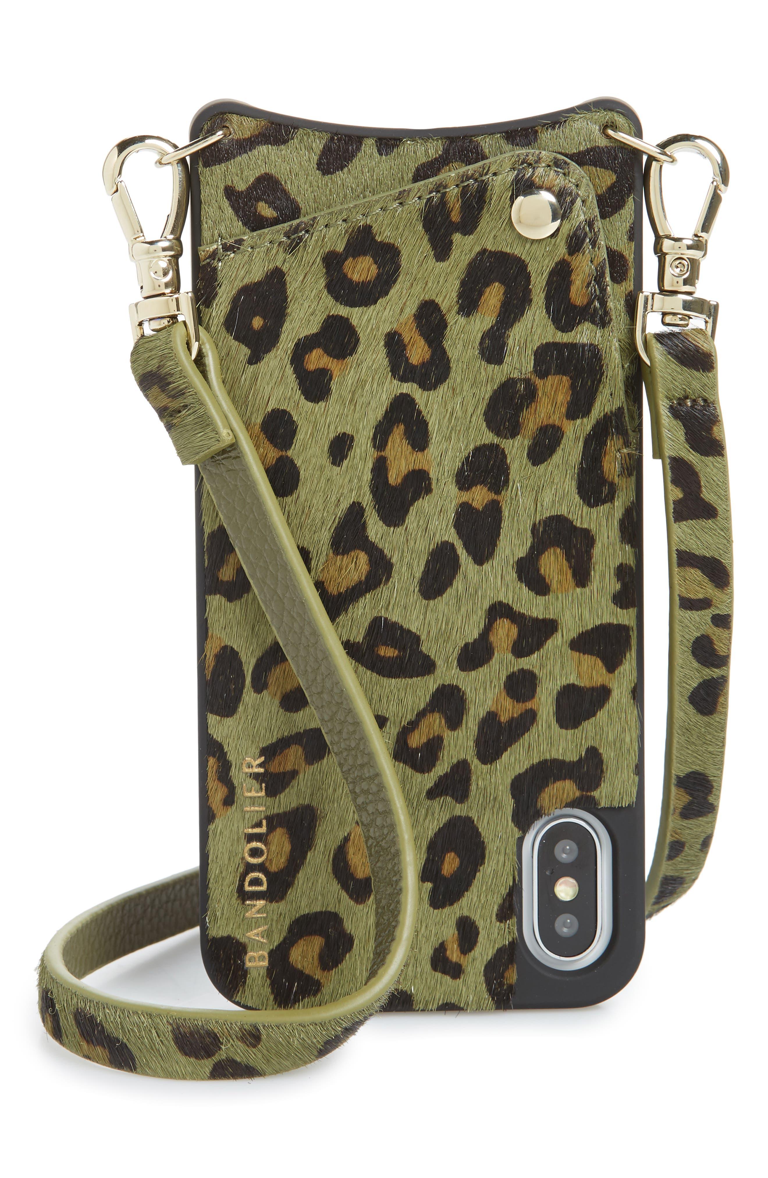BANDOLIER Emma Genuine Calf Hair iPhone X/Xs/Xs Max & XR Crossbody Case, Main, color, GREEN/ GOLD
