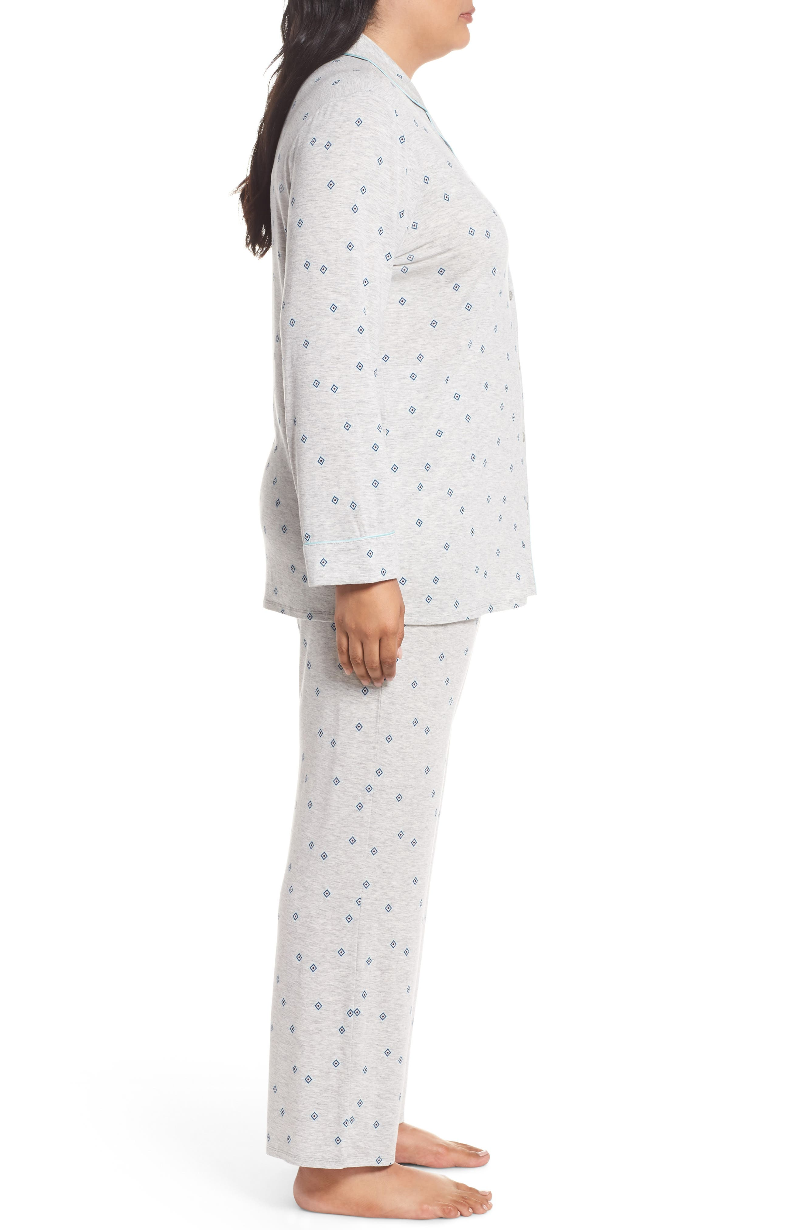 'Moonlight' Pajamas,                             Alternate thumbnail 3, color,                             GREY PEARL HTR FLIRTY FOULARD