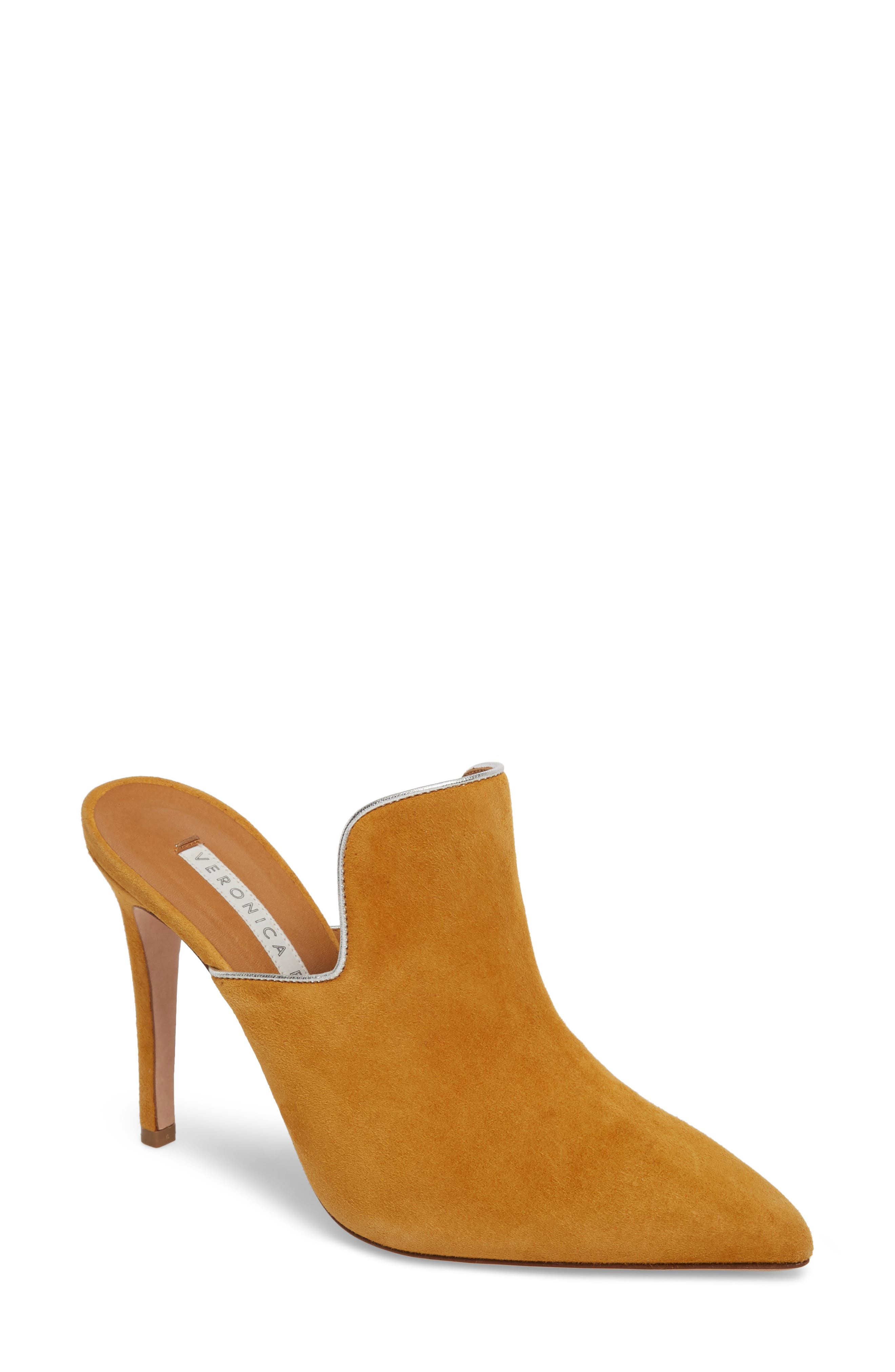 Penn Pointy Toe Mule,                         Main,                         color, MARIGOLD/ SILVER