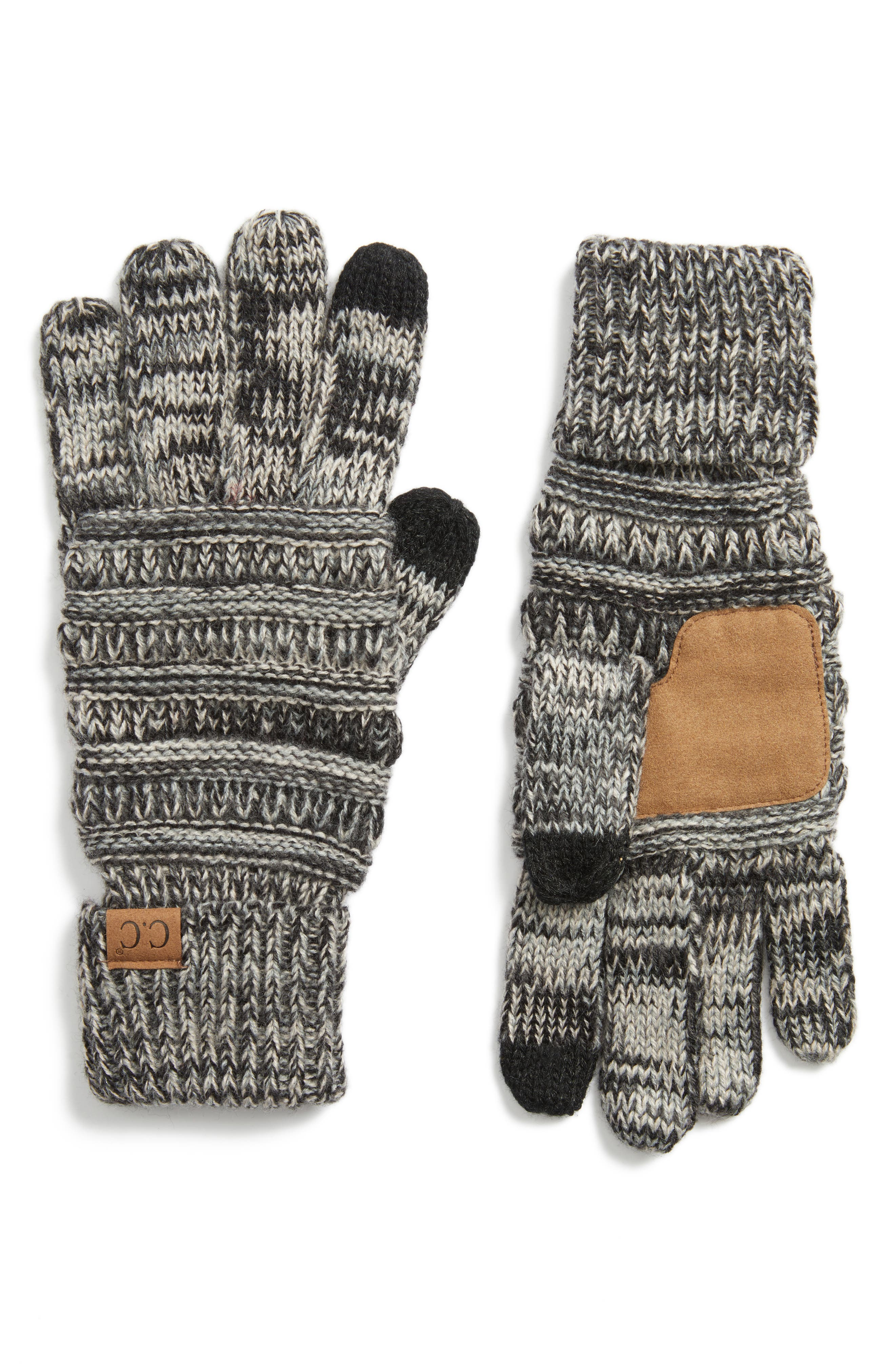 Knit Tech Gloves,                             Main thumbnail 1, color,                             001