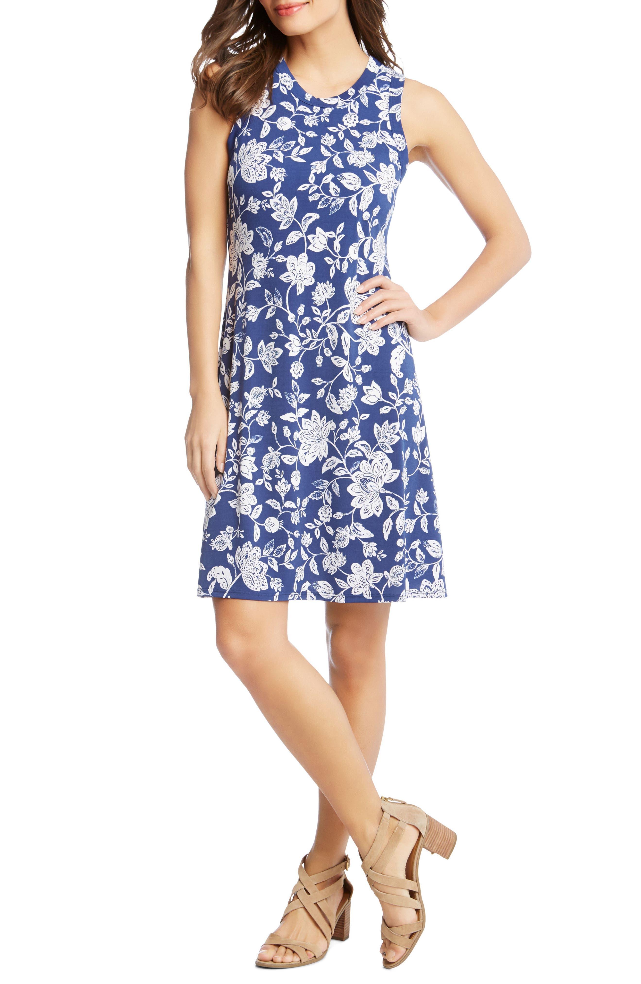 Floral Sleeveless Dress,                             Main thumbnail 1, color,                             PRINT