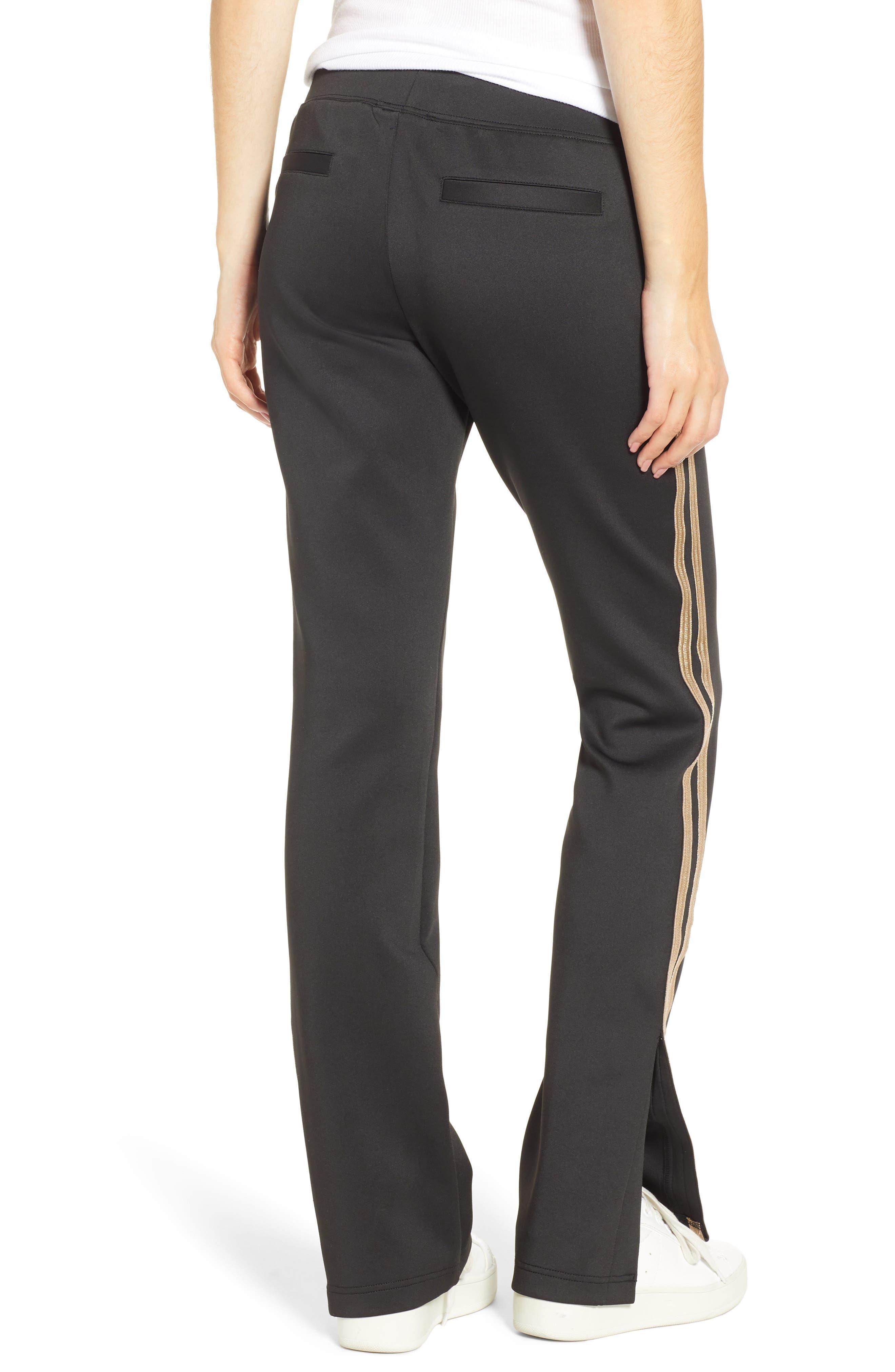 Metallic Stripe Track Pants,                             Alternate thumbnail 2, color,                             BLACK