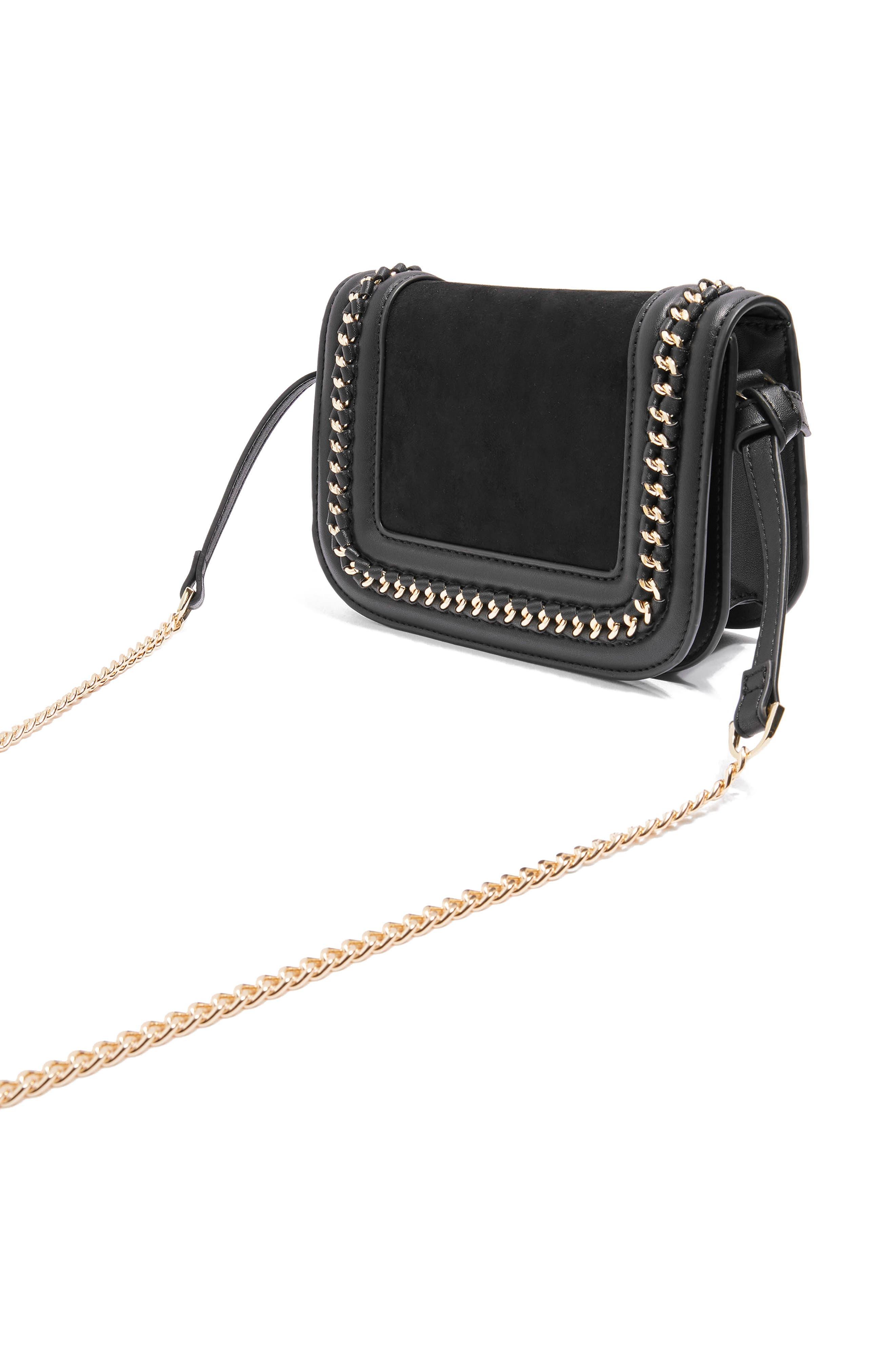 Carmel Chain Flap Crossbody Bag,                             Alternate thumbnail 4, color,                             001