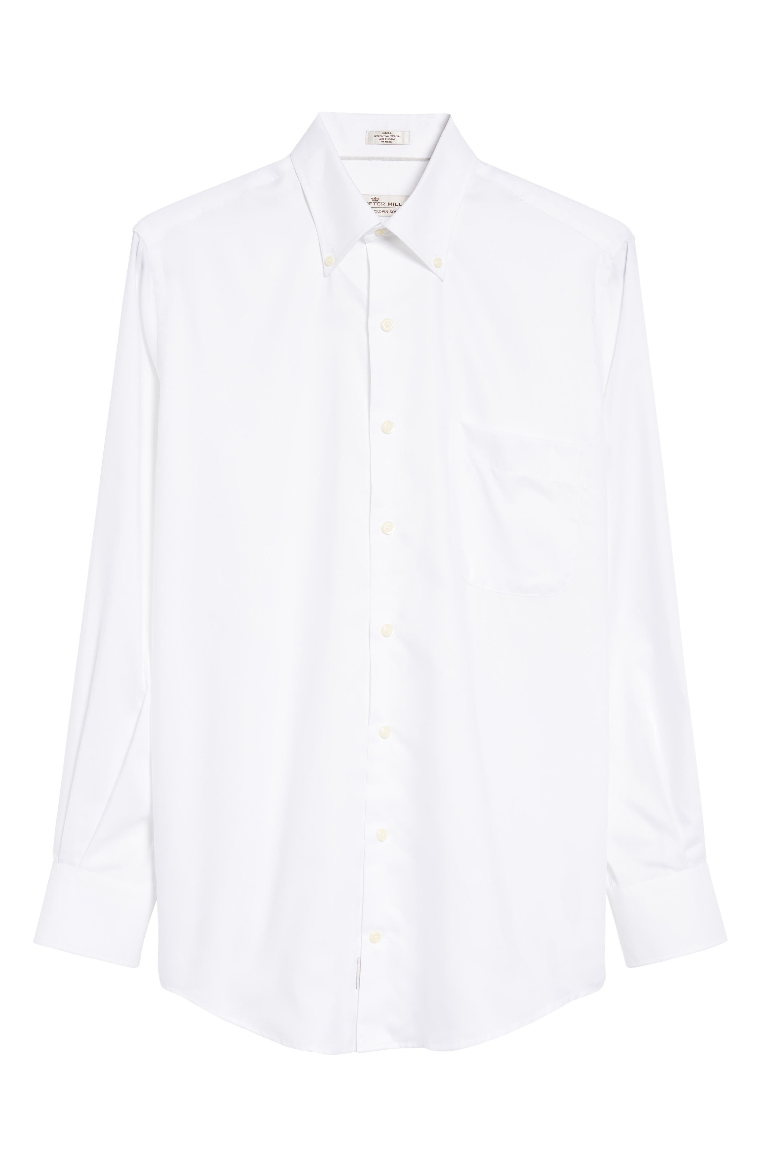 Crown Soft Pinpoint Regular Fit Sport Shirt,                             Alternate thumbnail 6, color,                             WHITE