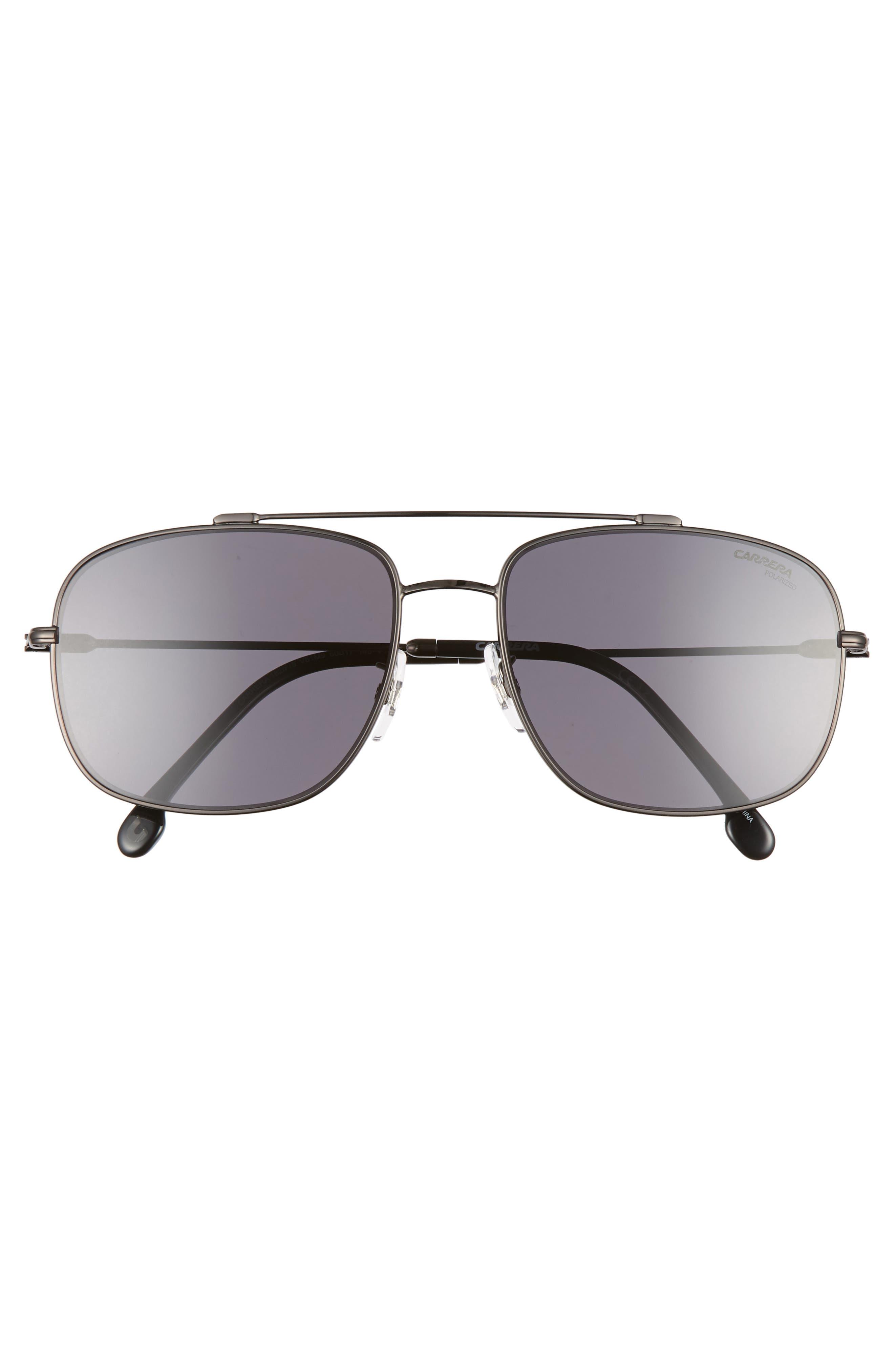 60mm Special Fit Polarized Navigator Sunglasses,                             Alternate thumbnail 2, color,                             DARK RUTHENIUM/ BLACK