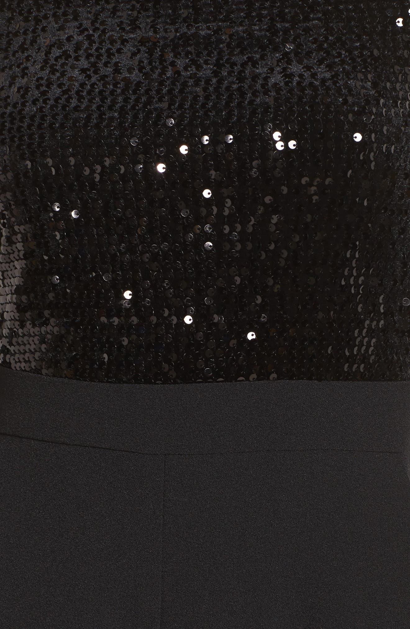 ELIZA J,                             Off the Shoulder Wide Leg Jumpsuit,                             Alternate thumbnail 5, color,                             BLACK