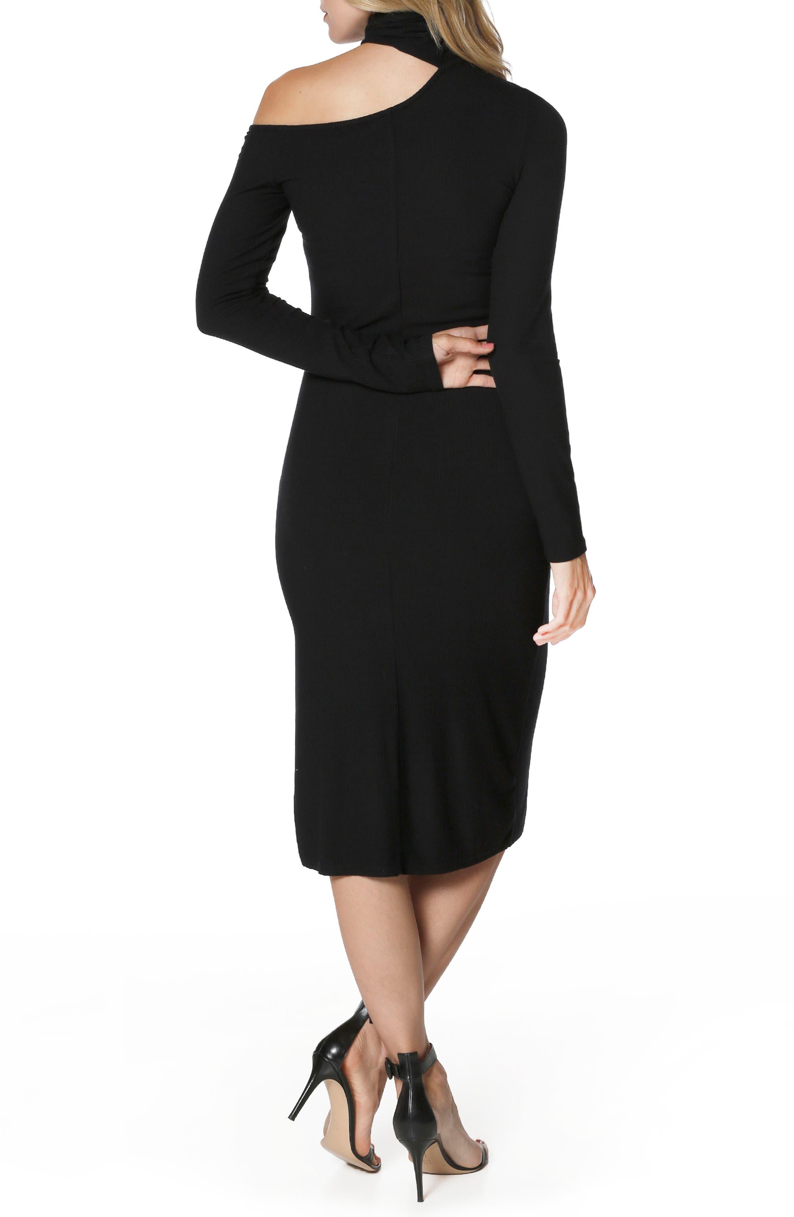 Faith Knit Cold Shoulder Dress,                             Alternate thumbnail 2, color,                             001