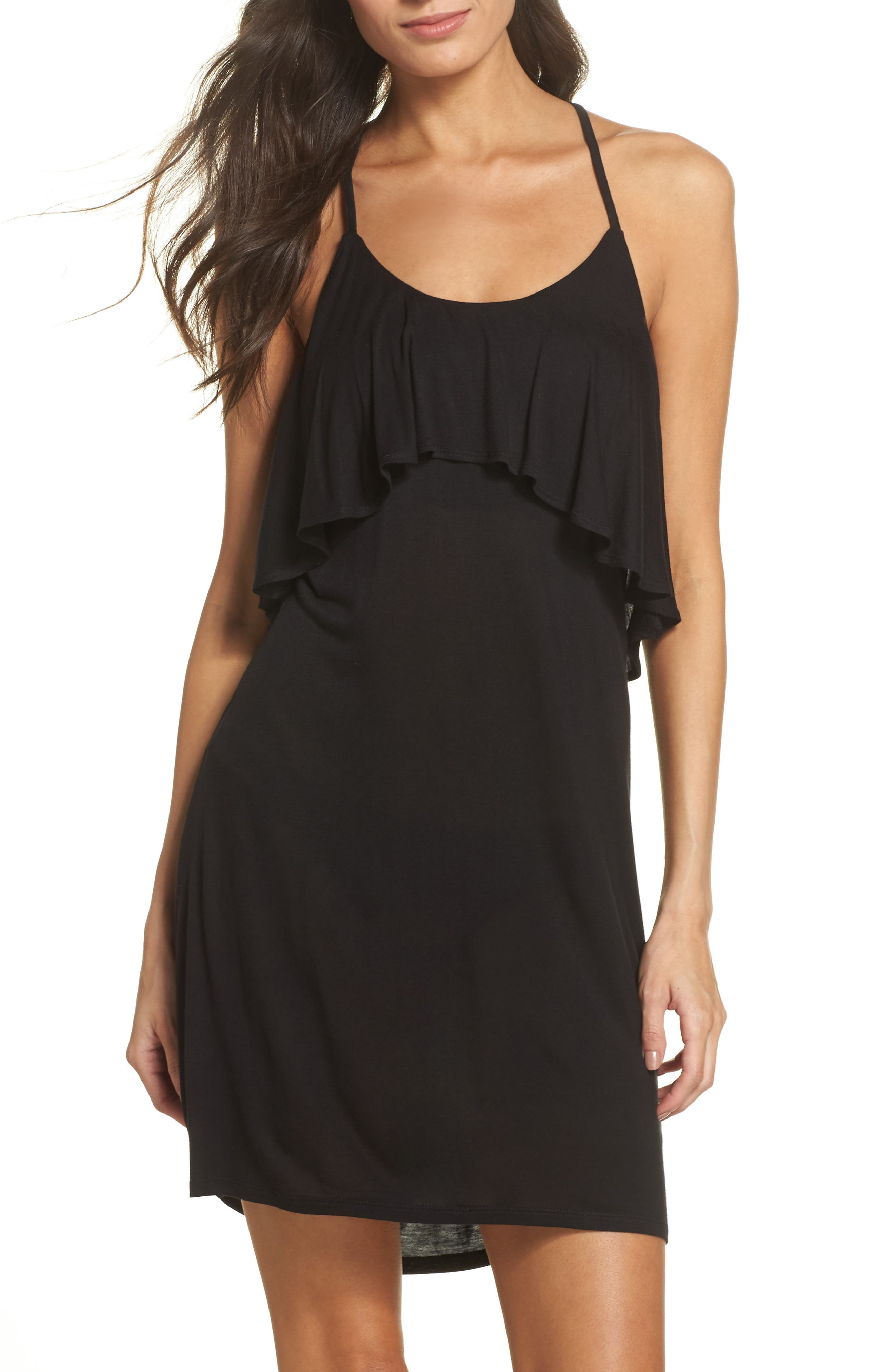 Ruffle Cover-Up Dress,                             Main thumbnail 1, color,                             BLACK