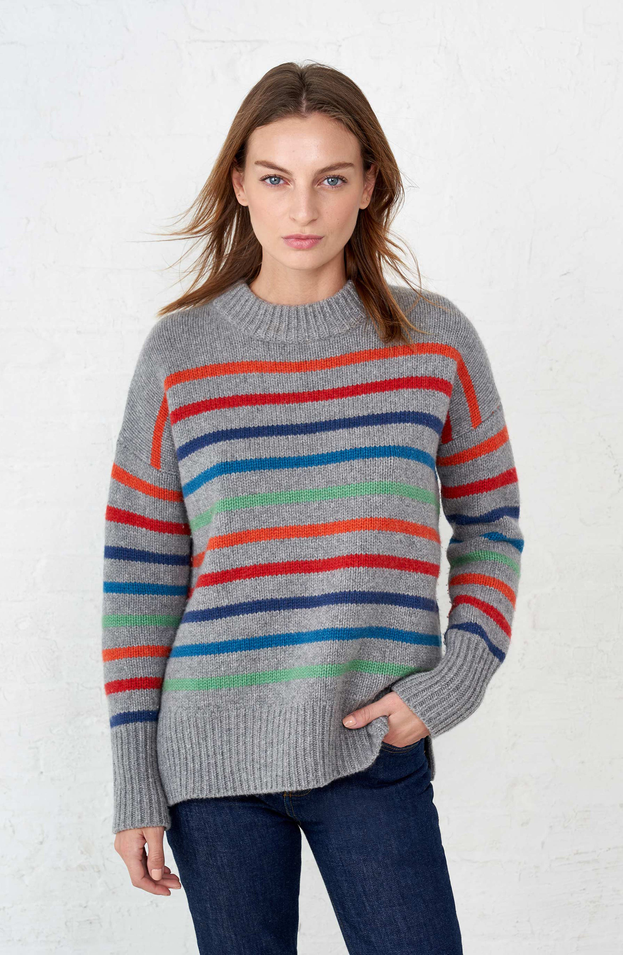 Marin Wool & Cashmere Sweater,                             Alternate thumbnail 7, color,                             RAINBOW STRIPE