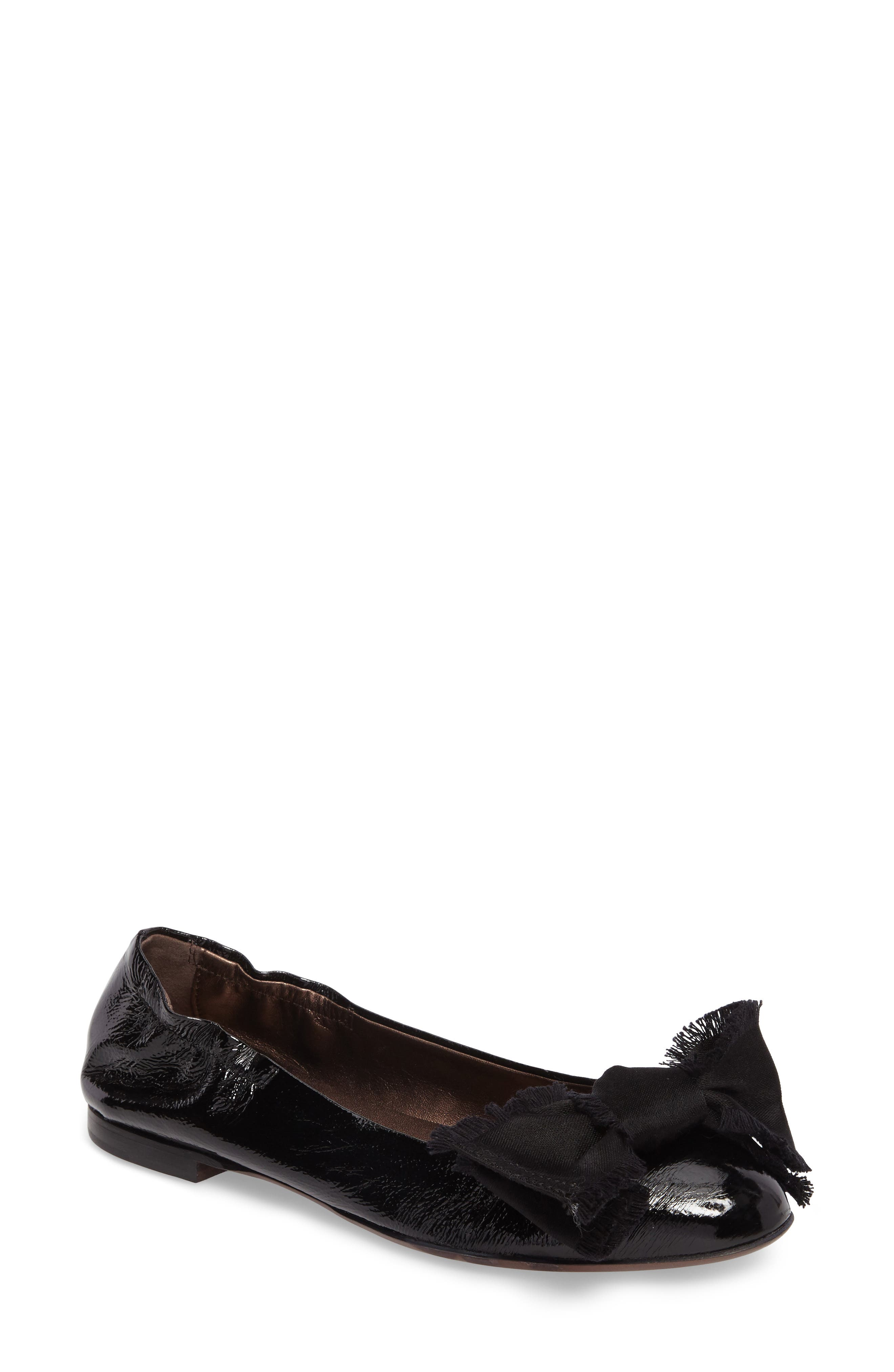 Satin Bow Ballet Flat,                             Main thumbnail 1, color,                             BLACK LEATHER