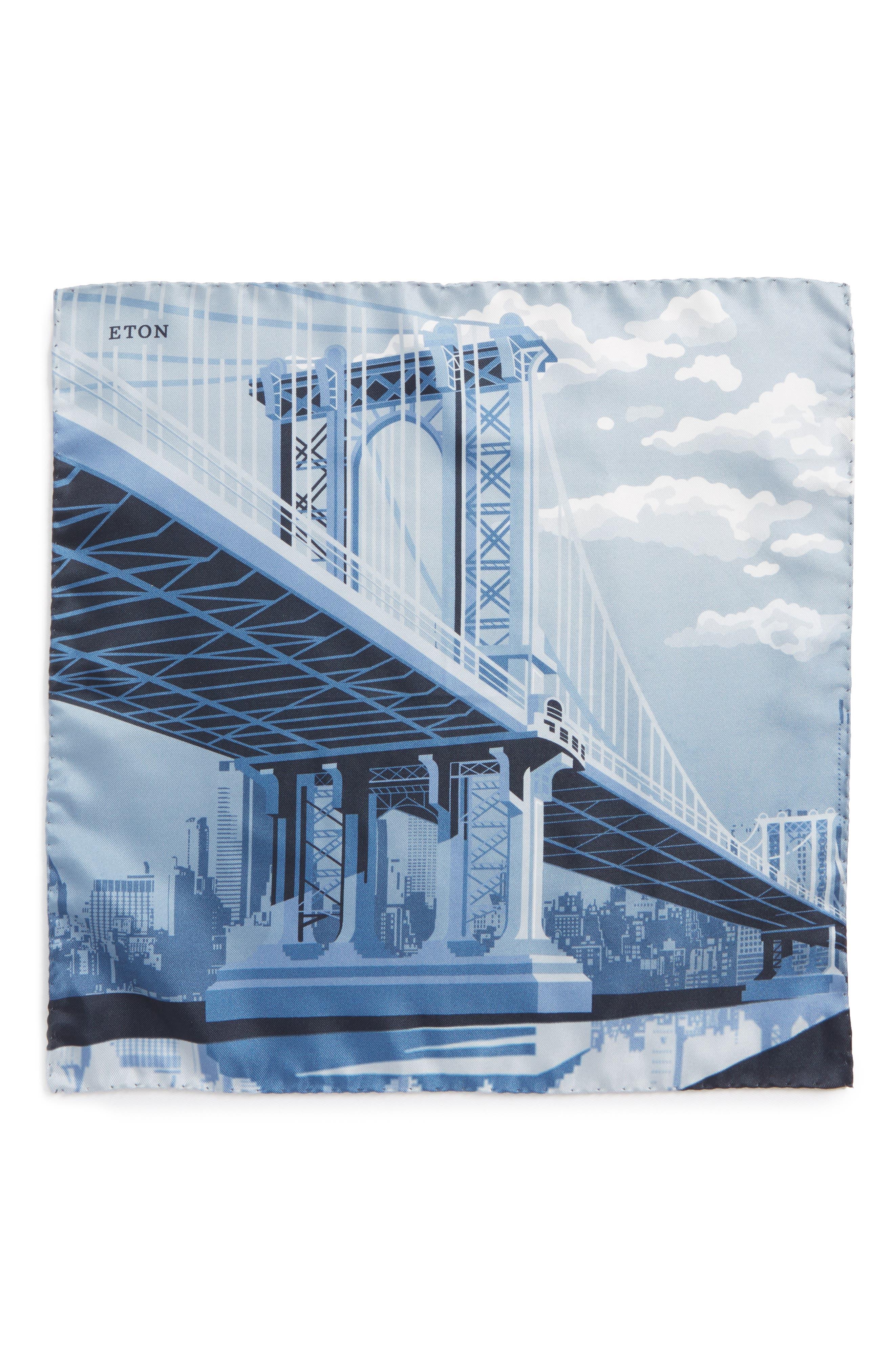 Manhattan Bridge Silk Pocket Square,                             Alternate thumbnail 2, color,                             GREY