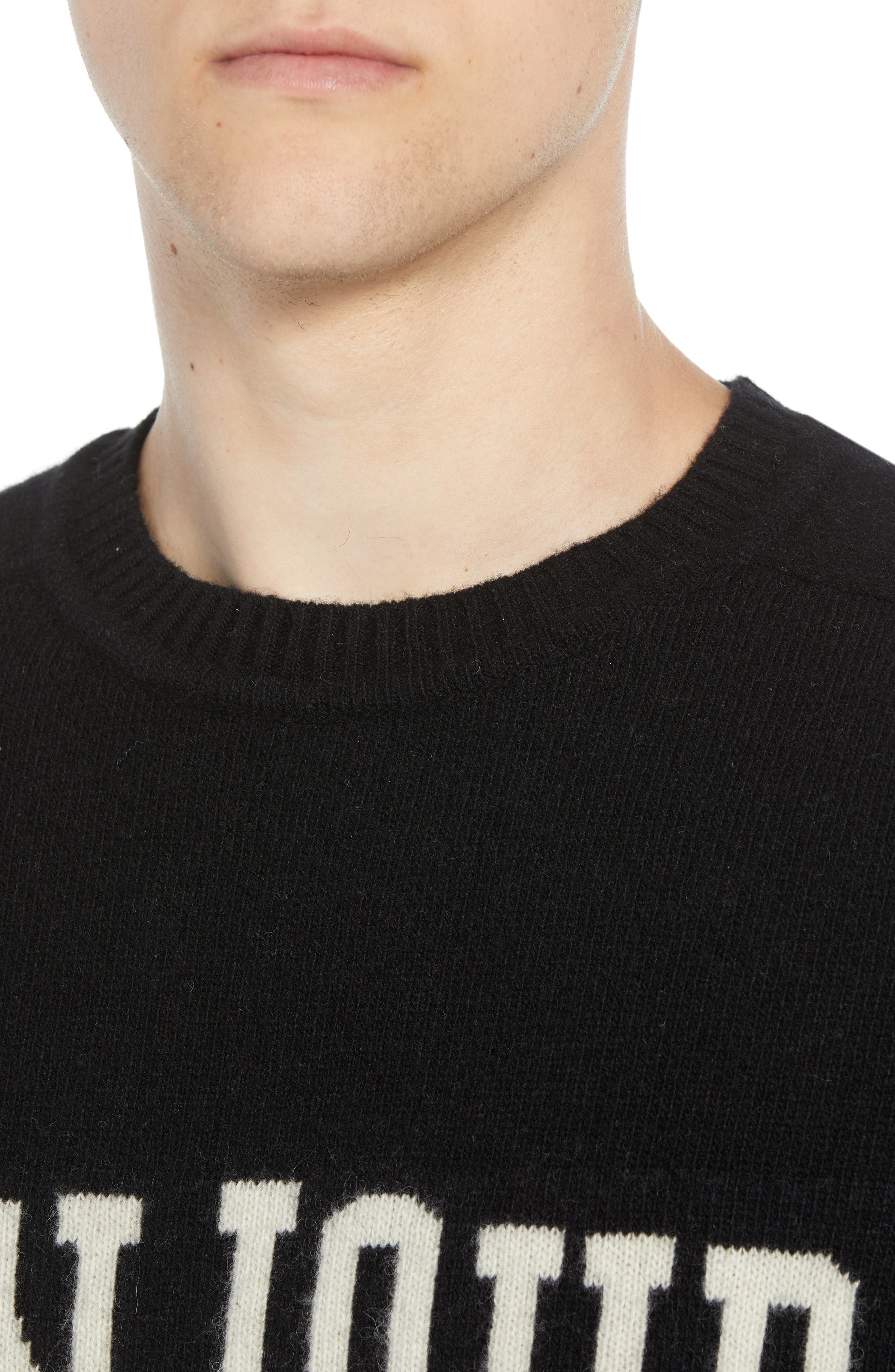 Bonjour Wool Blend Sweater,                             Alternate thumbnail 4, color,                             BLACK WHITECAP GREY