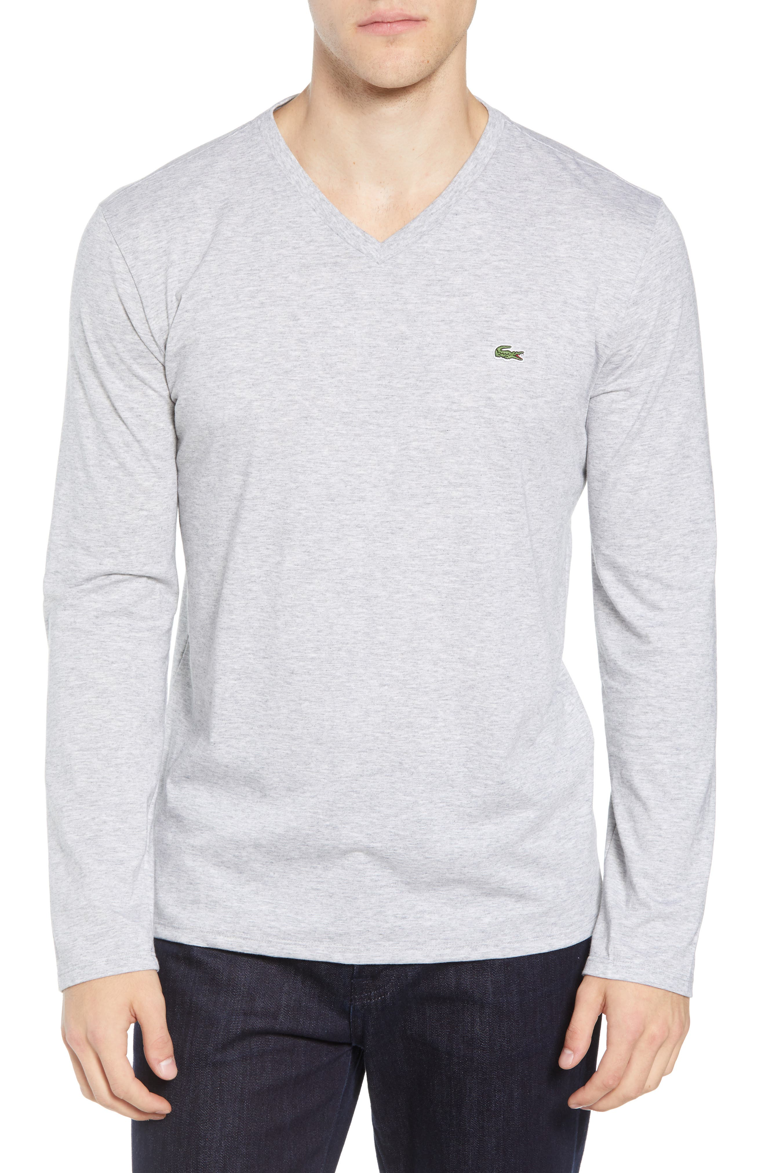 Long Sleeve T-Shirt,                         Main,                         color, SILVER CHINE