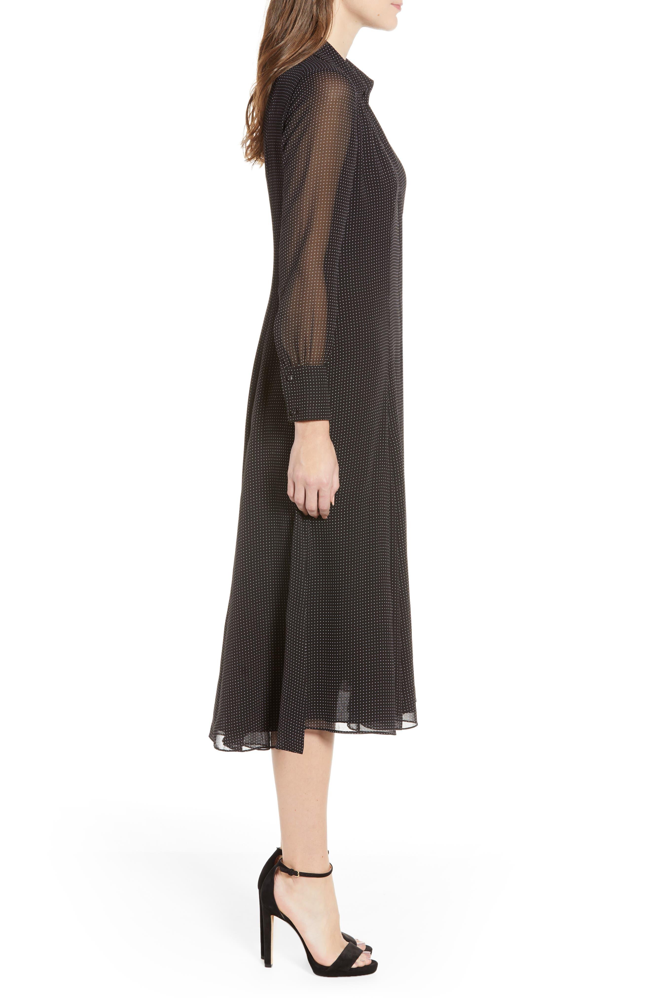 REBECCA MINKOFF,                             Kimberly Dot Sheer Sleeve Dress,                             Alternate thumbnail 4, color,                             BLACK/ WHITE