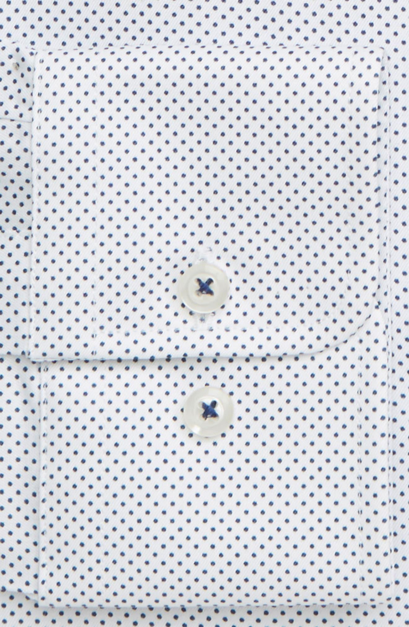 DAVID DONAHUE,                             Regular Fit Dot Dress Shirt,                             Alternate thumbnail 2, color,                             WHITE/ NAVY