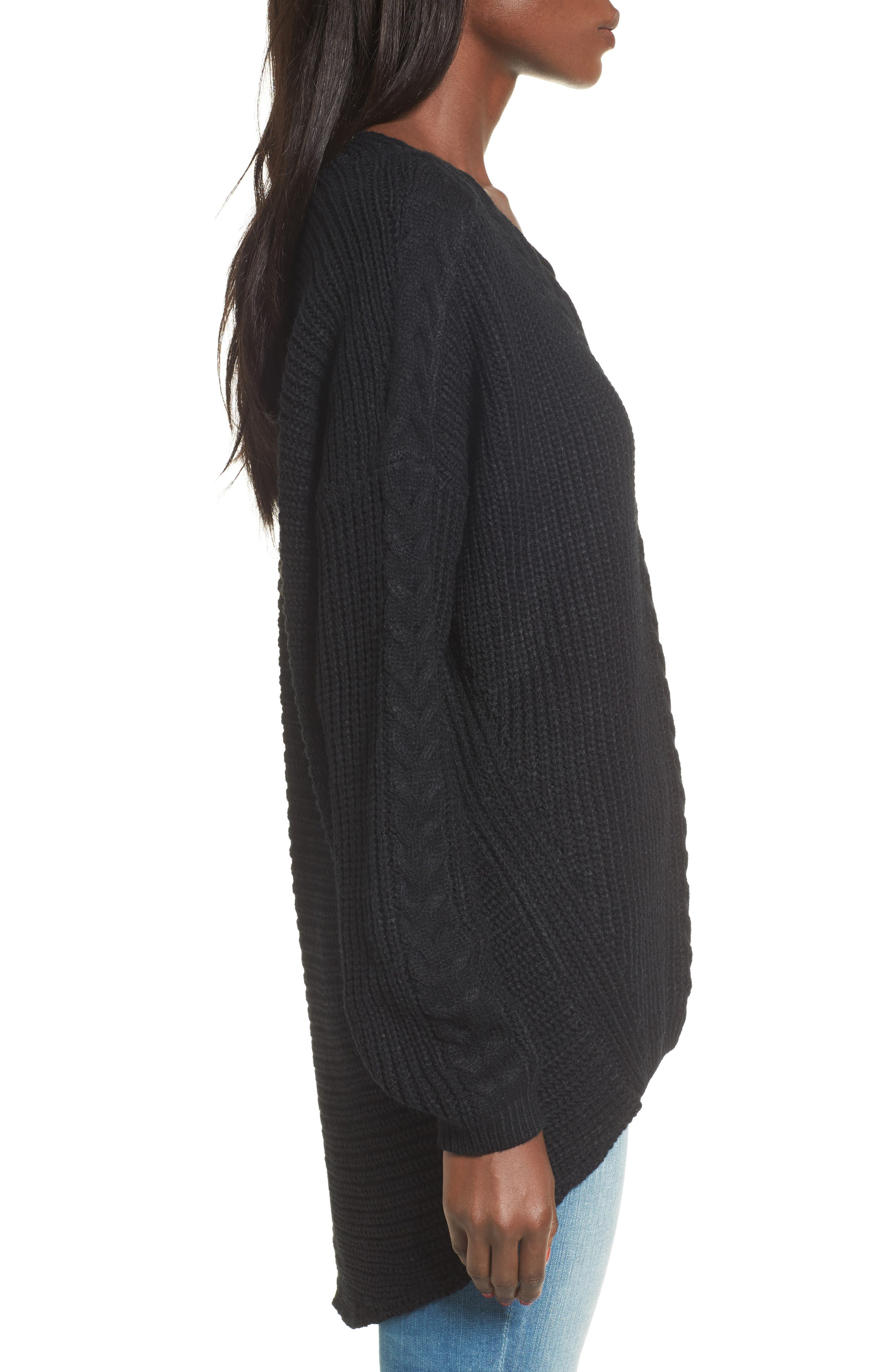 Cross Front Braided Sweater,                             Alternate thumbnail 3, color,                             001