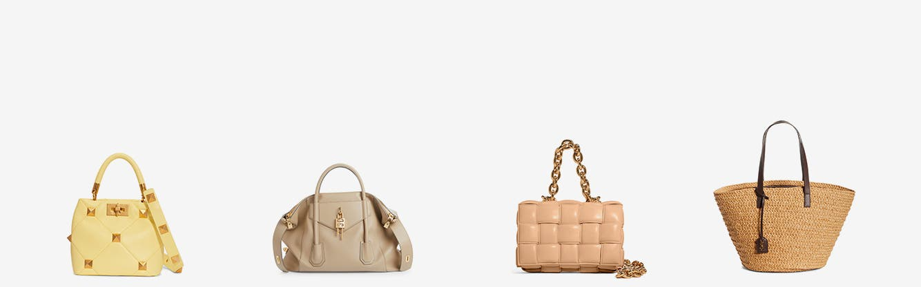 Designer handbags from Valentino, Bottega Veneta, Givenchy and Saint Laurent.