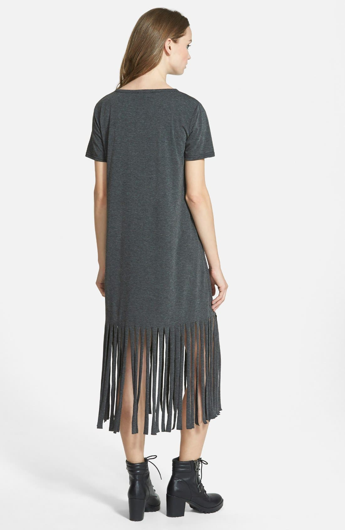 MISSGUIDED,                             Fringe T-Shirt Dress,                             Alternate thumbnail 4, color,                             021