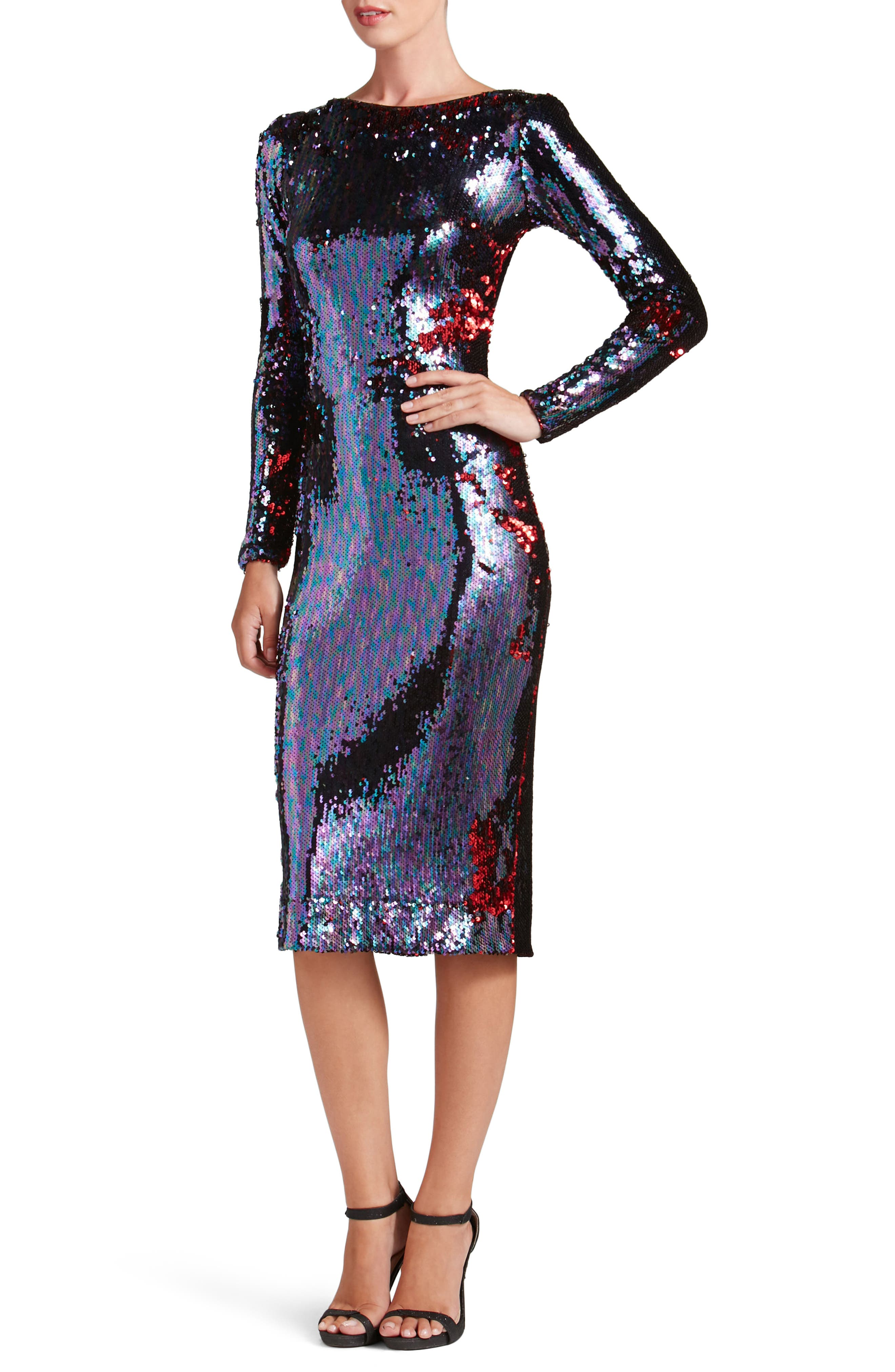 DRESS THE POPULATION,                             Emery Scoop Back Reversible Sequin Body-Con Dress,                             Alternate thumbnail 5, color,                             457