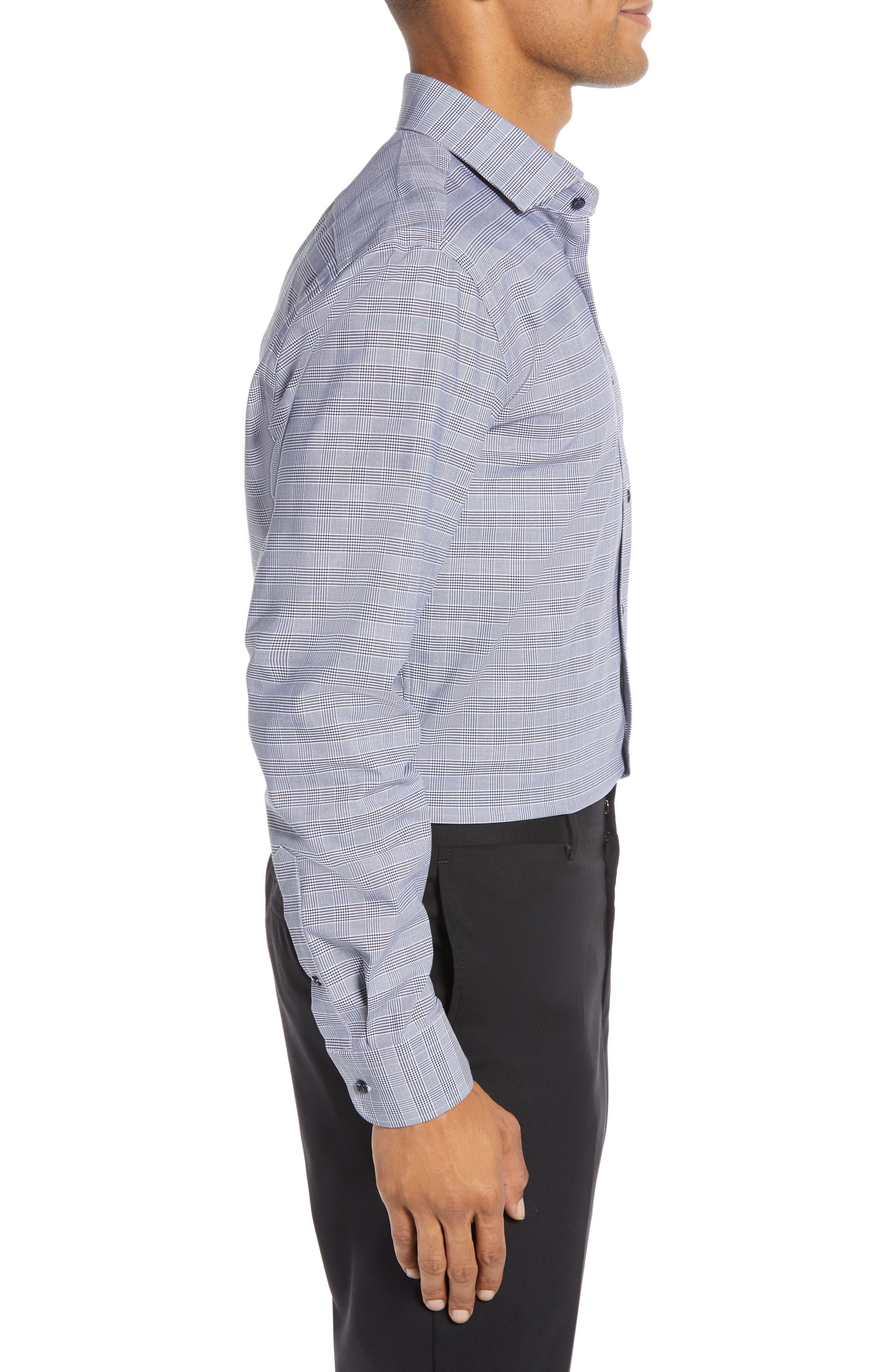 Tech-Smart Trim Fit Stretch Plaid Dress Shirt,                             Alternate thumbnail 4, color,                             NAVY PEACOAT
