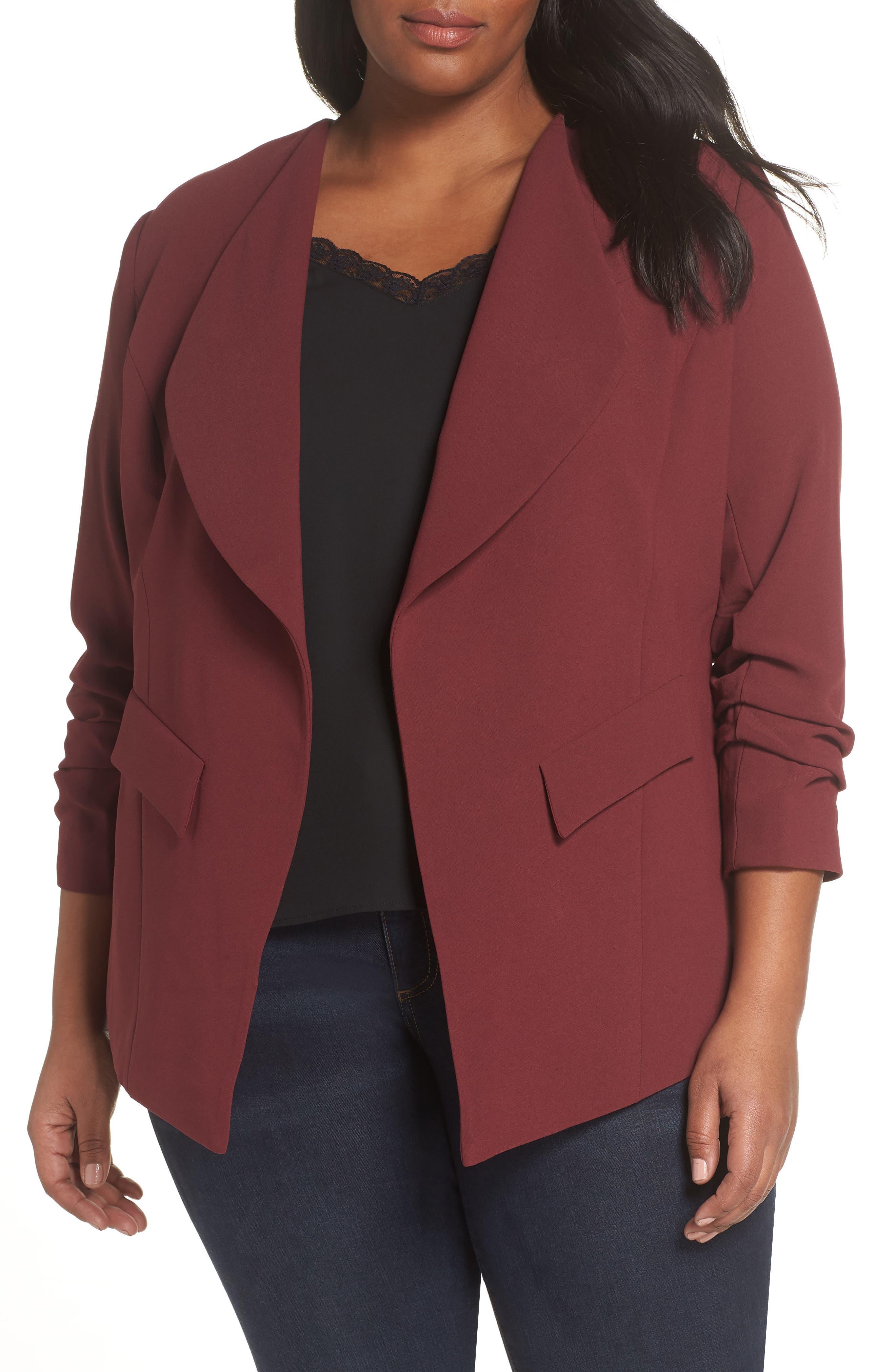 SEJOUR Drape Neck Jacket, Main, color, BURGUNDY FIELD