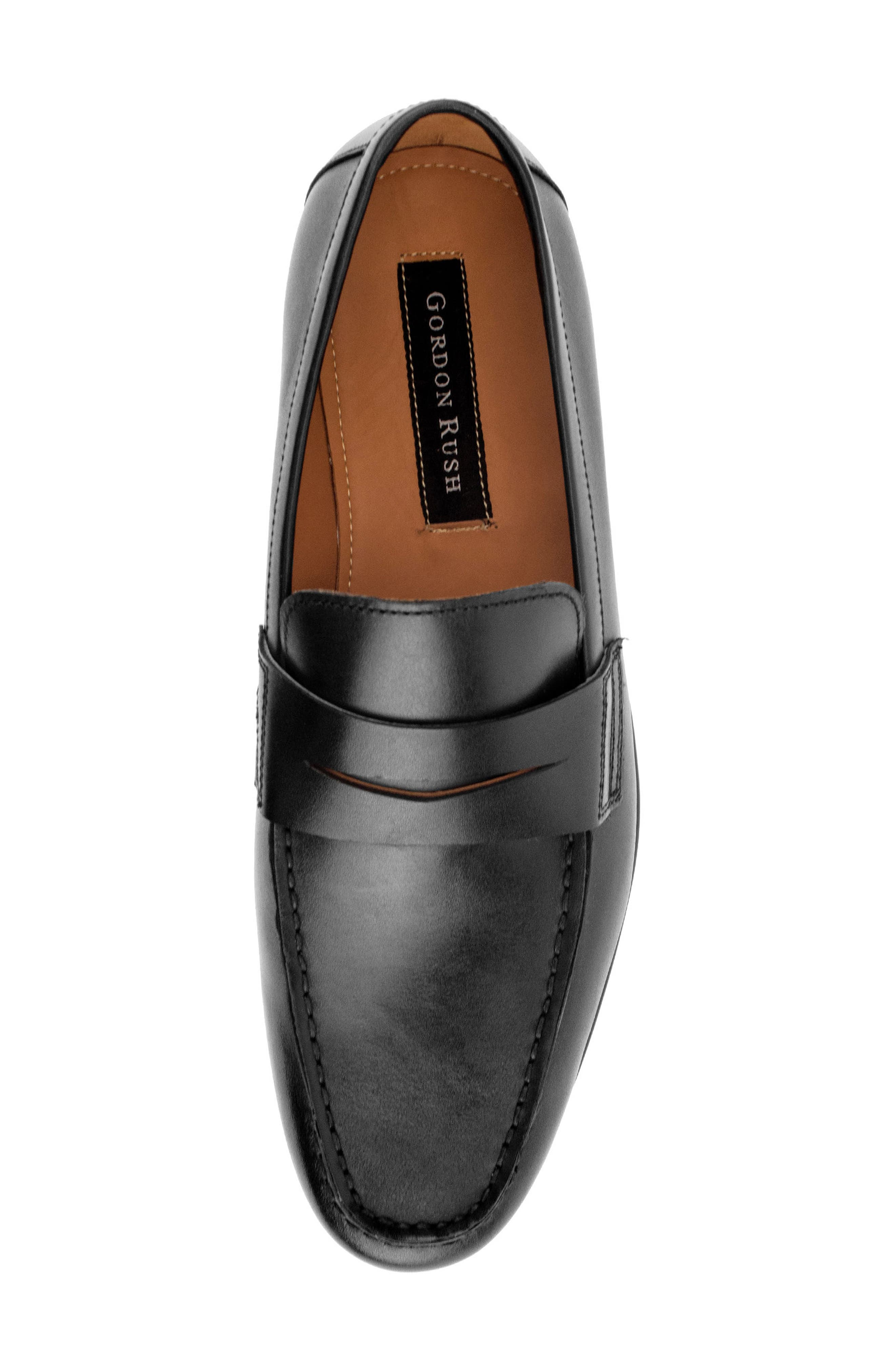 Connery Penny Loafer,                             Alternate thumbnail 5, color,                             BLACK LEATHER