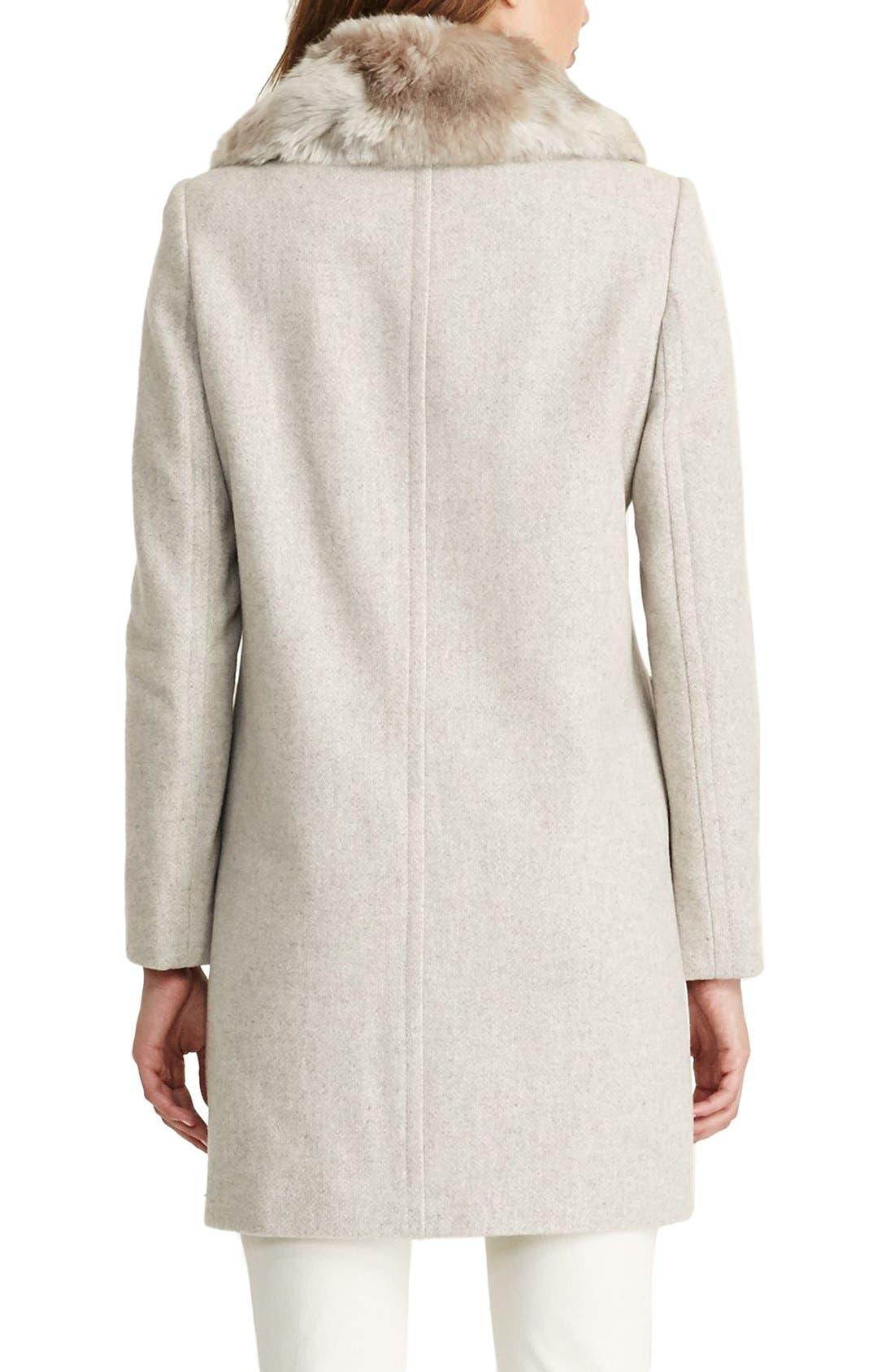 LAUREN RALPH LAUREN,                             Wool Blend Coat with Faux Fur Collar,                             Alternate thumbnail 3, color,                             068