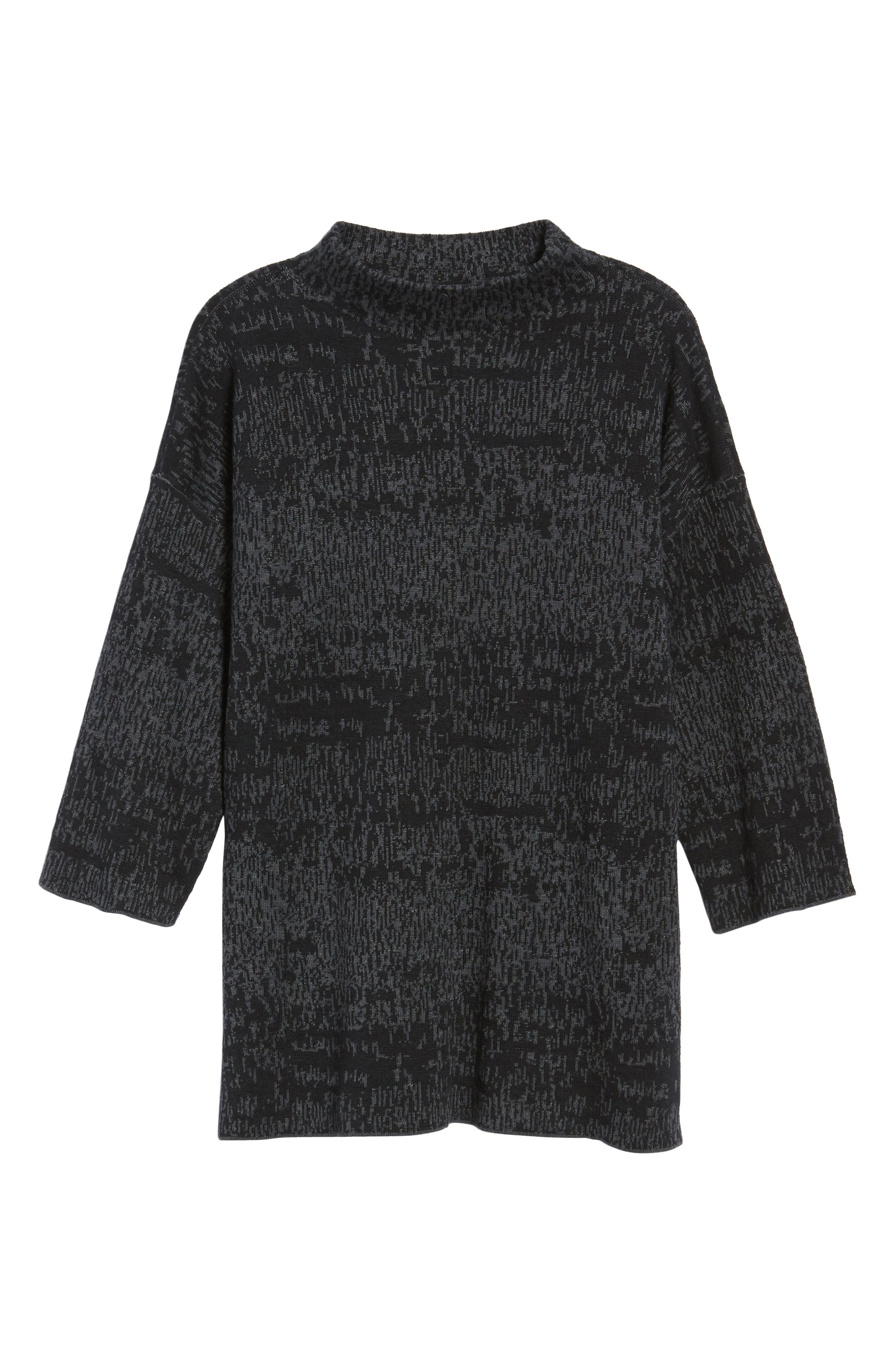Funnel Neck Organic Linen Blend Sweater,                             Alternate thumbnail 6, color,                             021