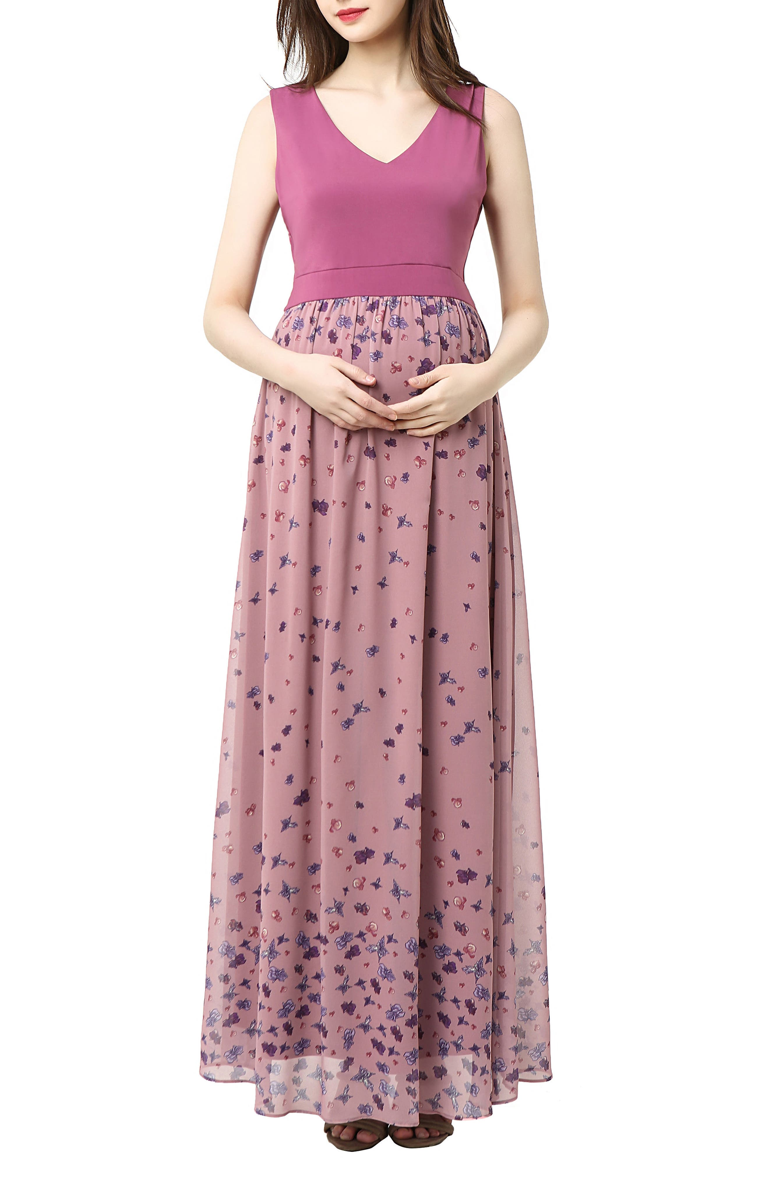 Kimi And Kai Armanda Maternity Maxi Dress, Pink