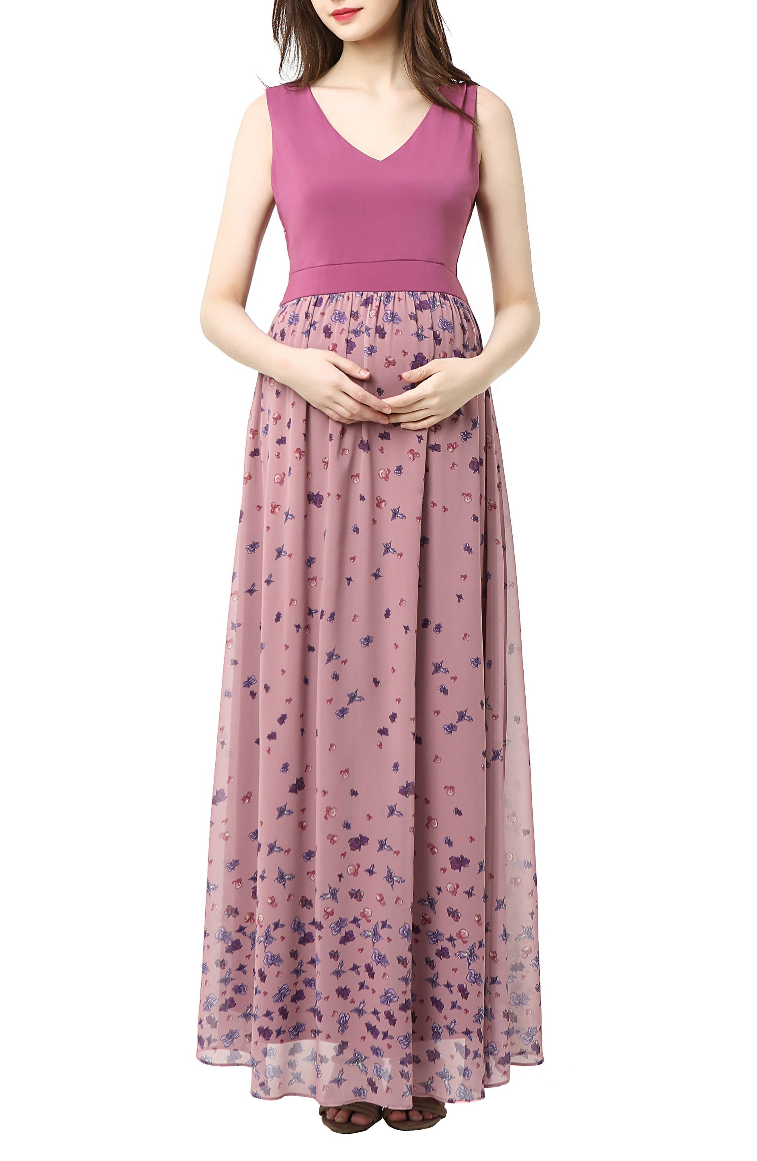 Armanda Maternity Maxi Dress, Main, color, ROSE PINK