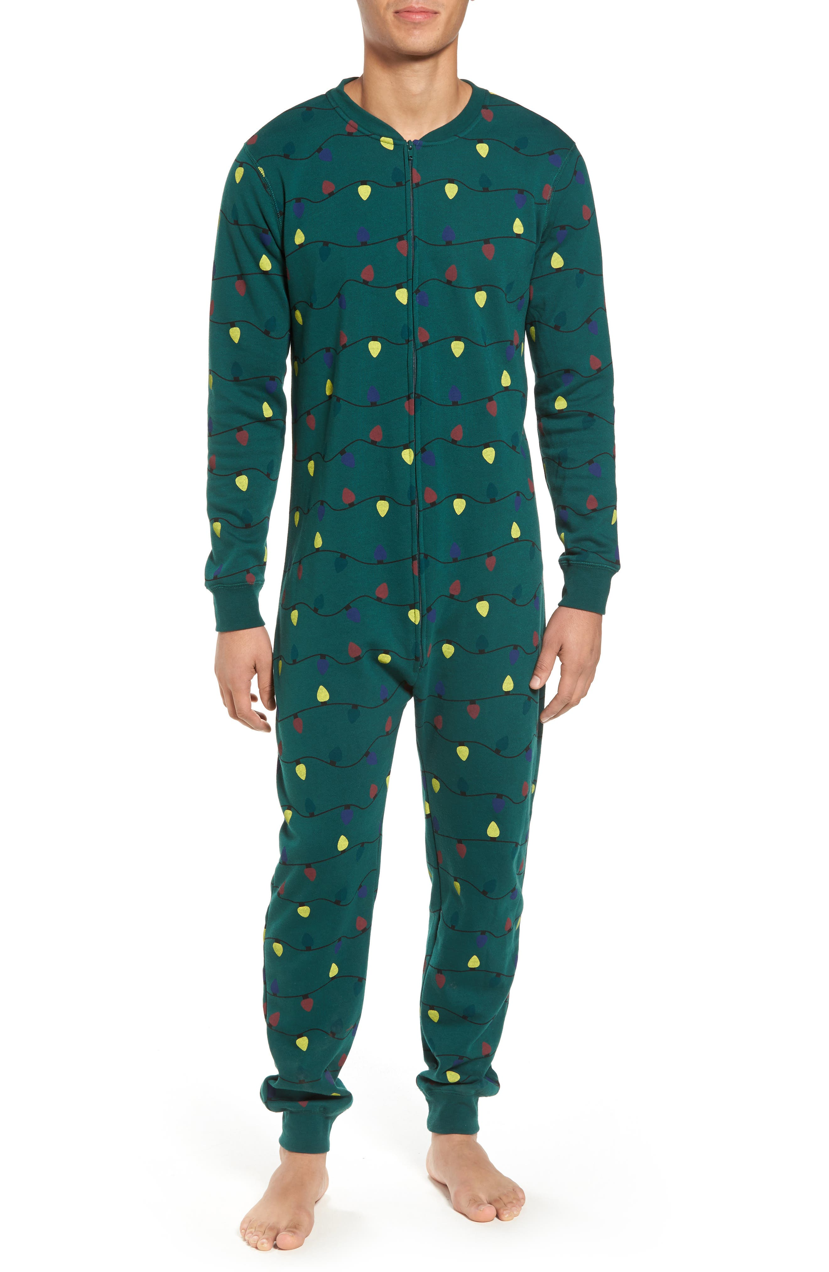 Fleece One-Piece Pajamas,                             Main thumbnail 2, color,
