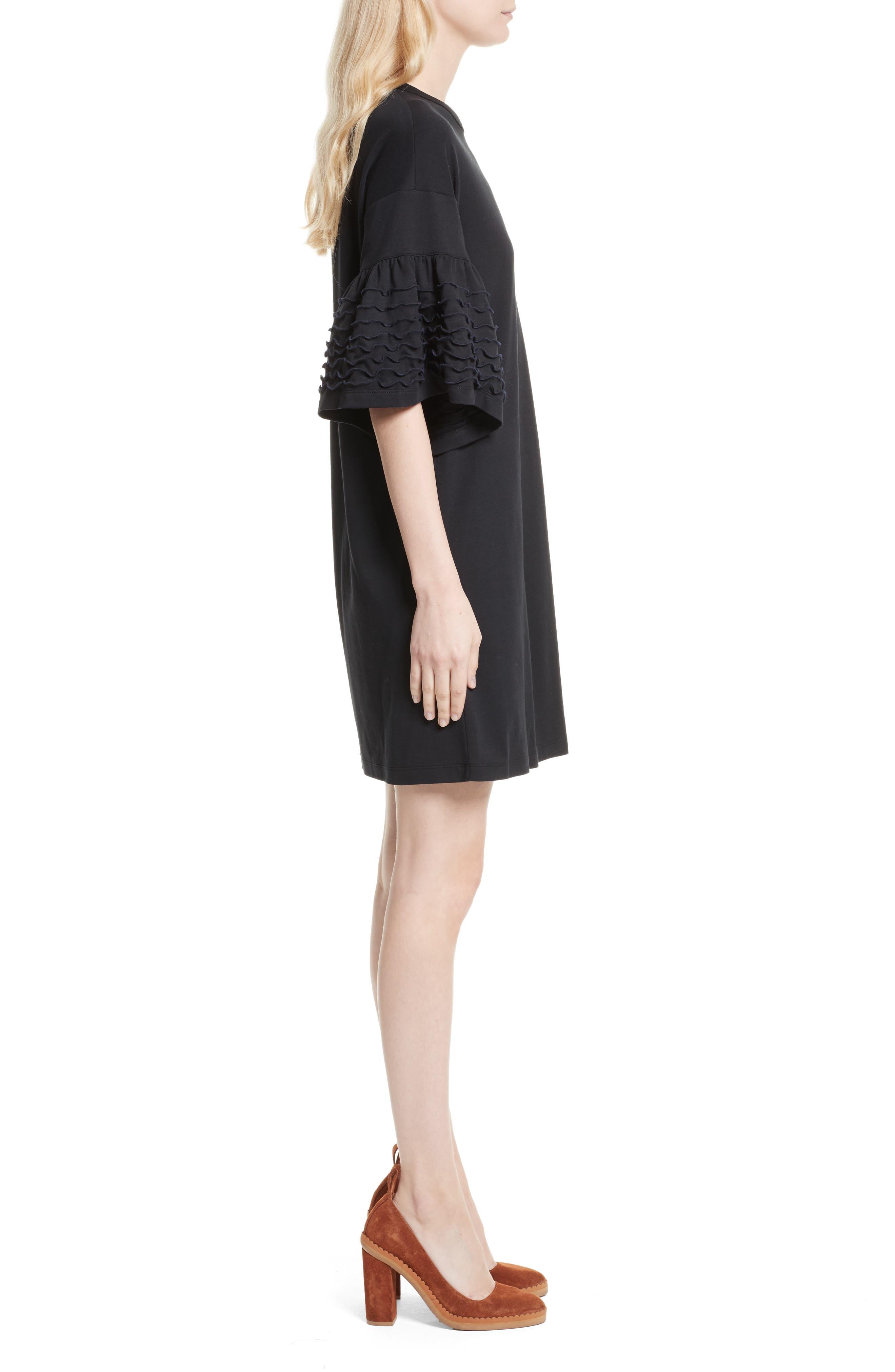 Ruffle Sleeve Cotton Shift Dress,                             Alternate thumbnail 3, color,                             001