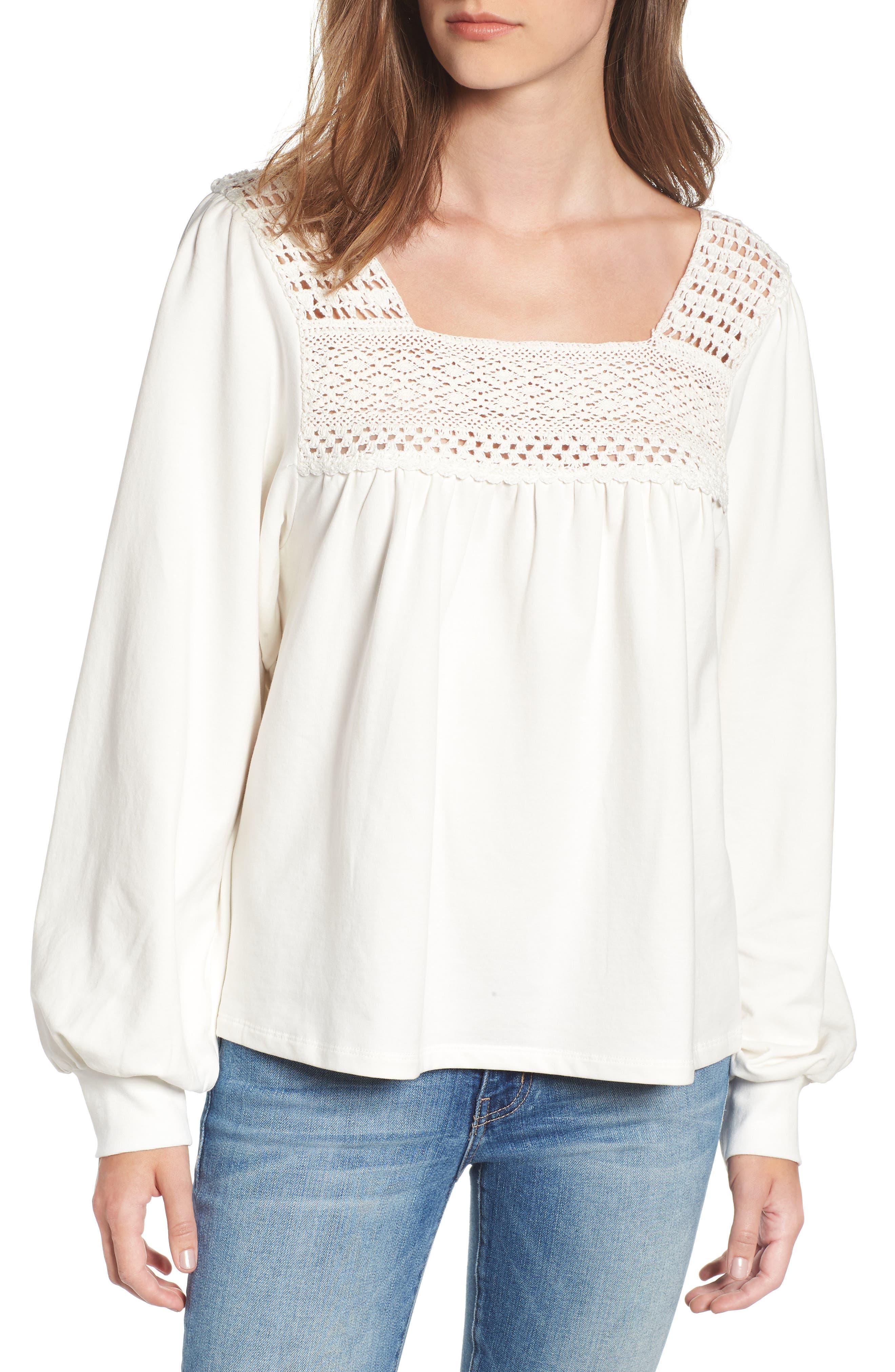 Crochet Trim Sweatshirt,                         Main,                         color, 900