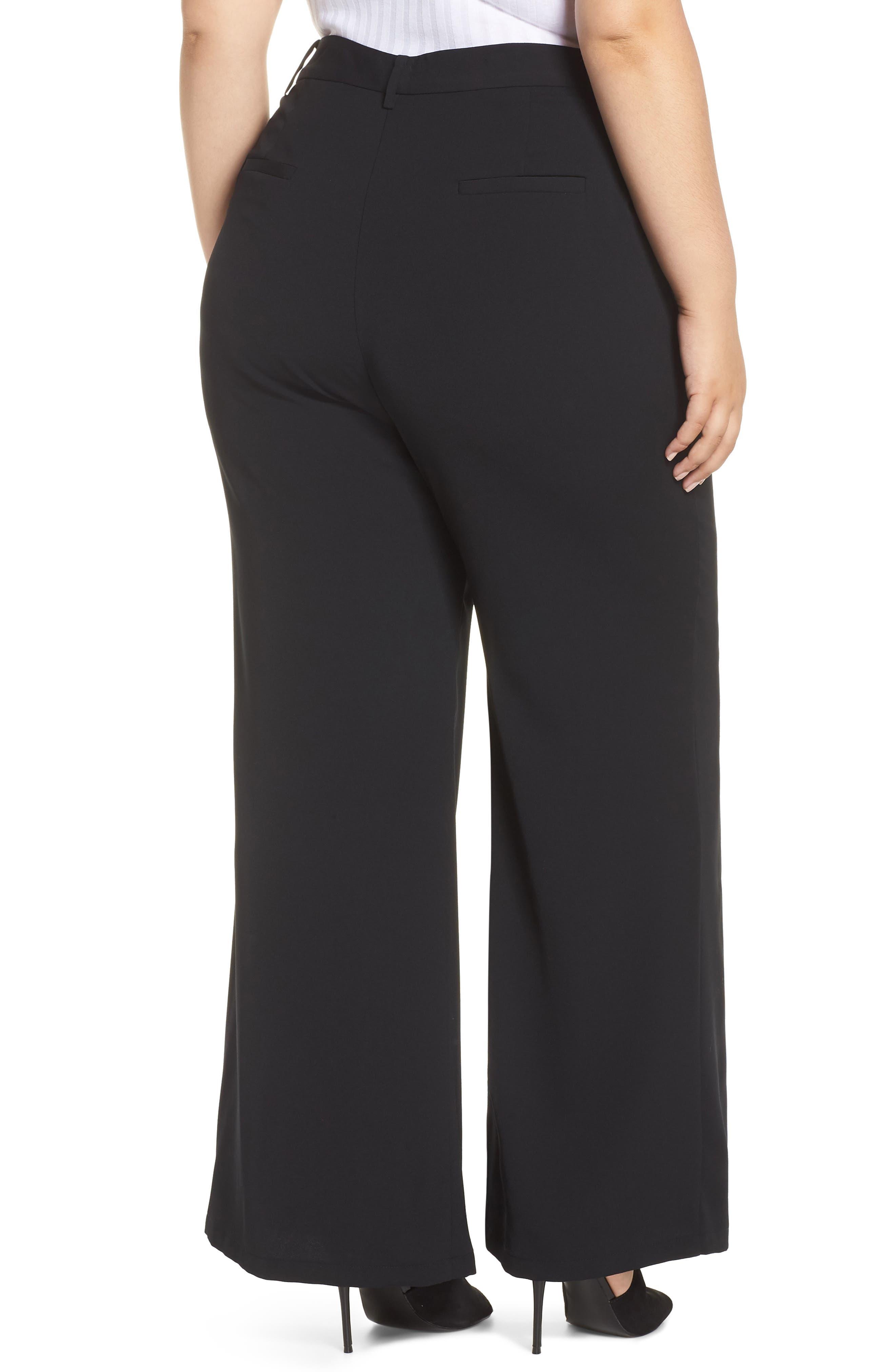 High Waist Flare Pants,                             Alternate thumbnail 9, color,                             BLACK